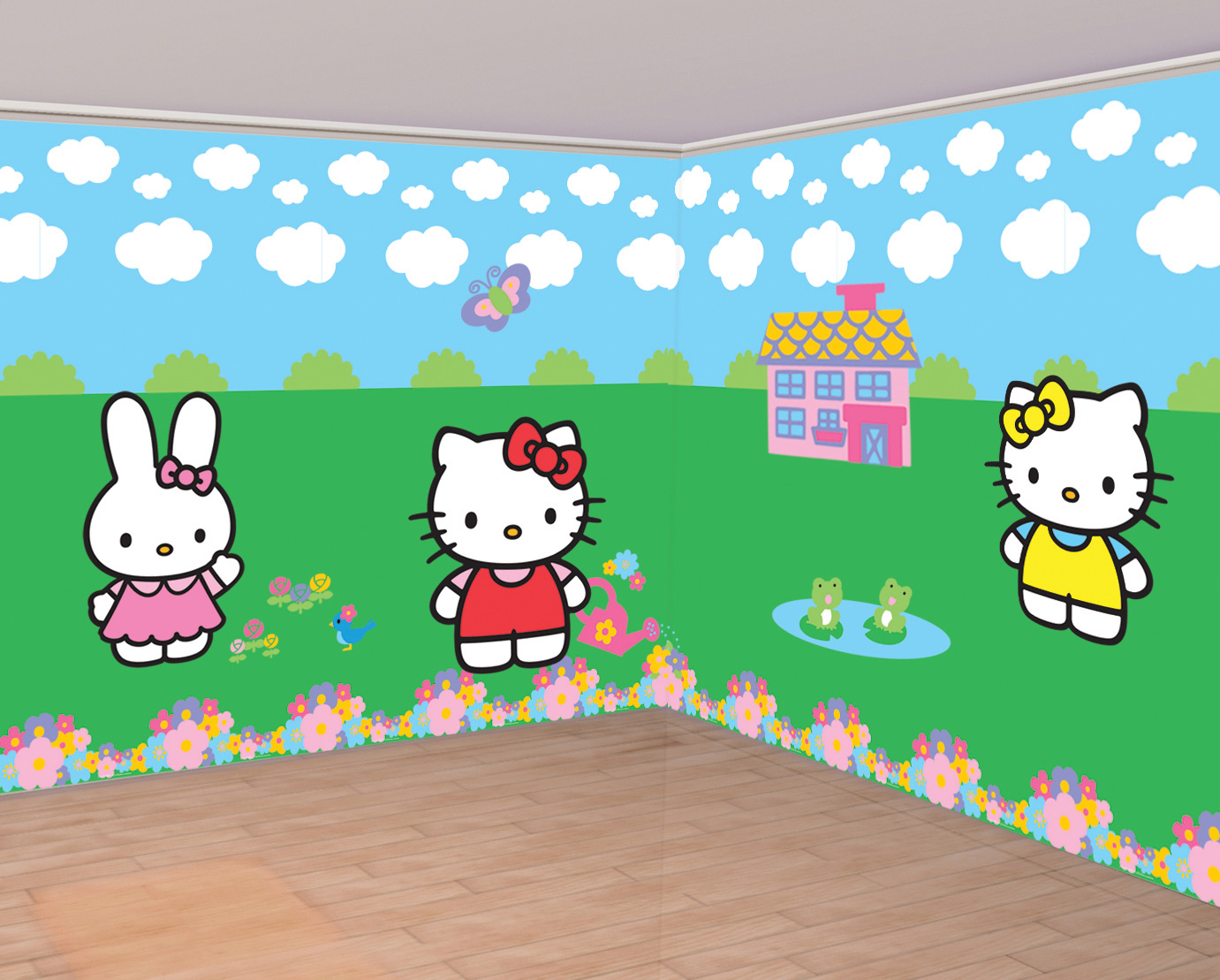 D corations murales hello kitty d coration anniversaire - Decoration hello kitty chambre bebe ...