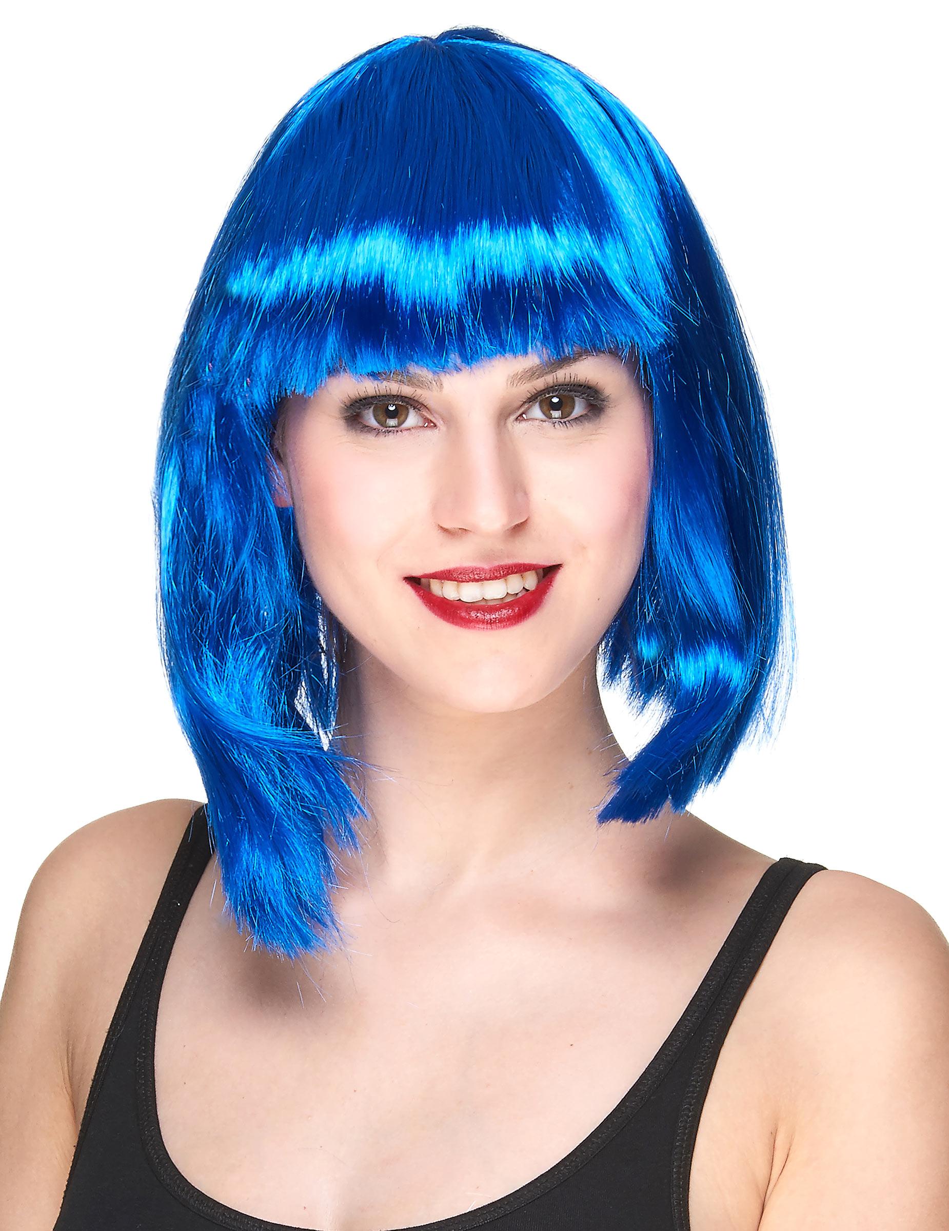 Perruque carré mi-long bleue femme, décoration anniversaire et fêtes à thème sur Vegaoo Party