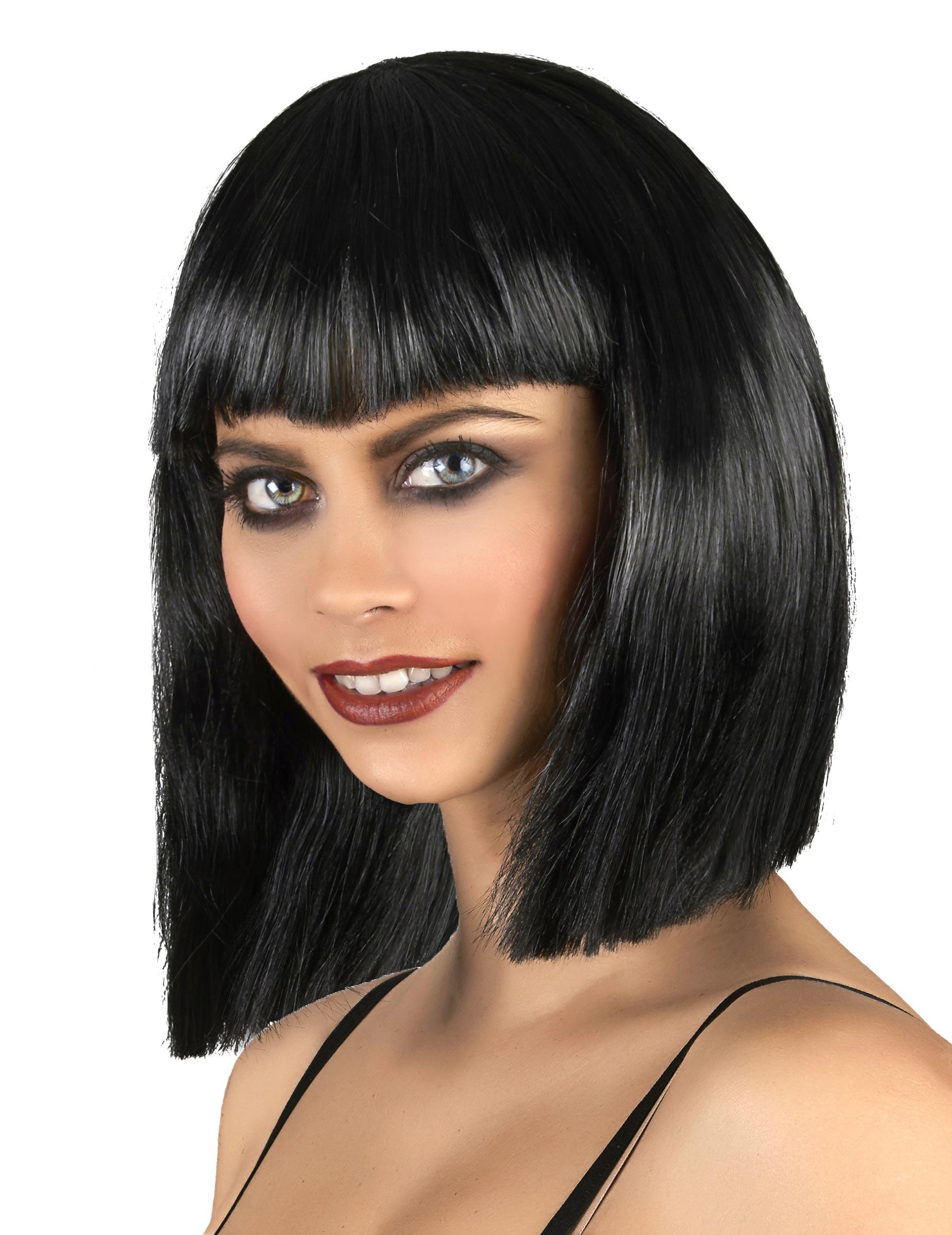 Perruque noire carré plongeant femme, décoration