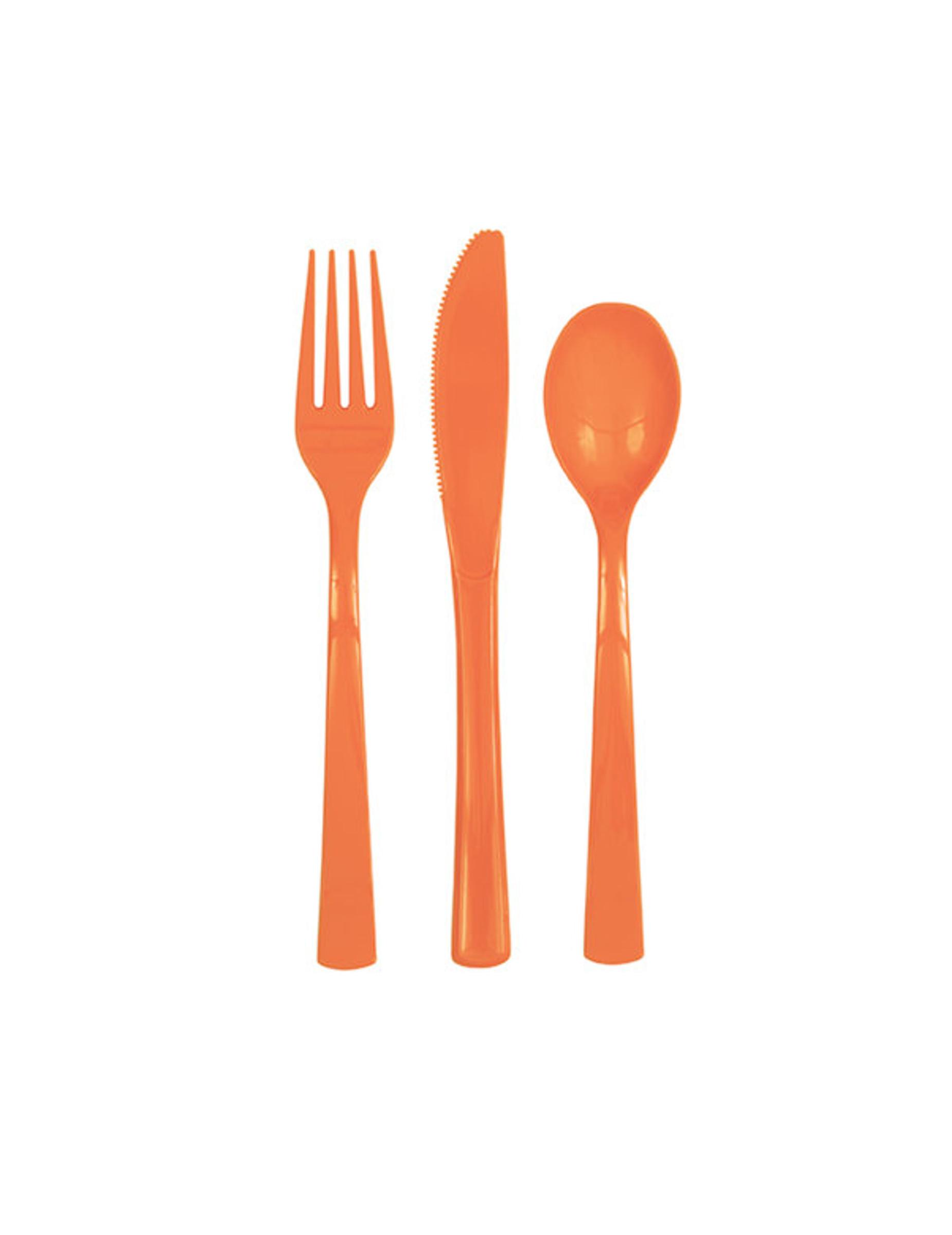 18 couverts en plastique orange d coration anniversaire. Black Bedroom Furniture Sets. Home Design Ideas