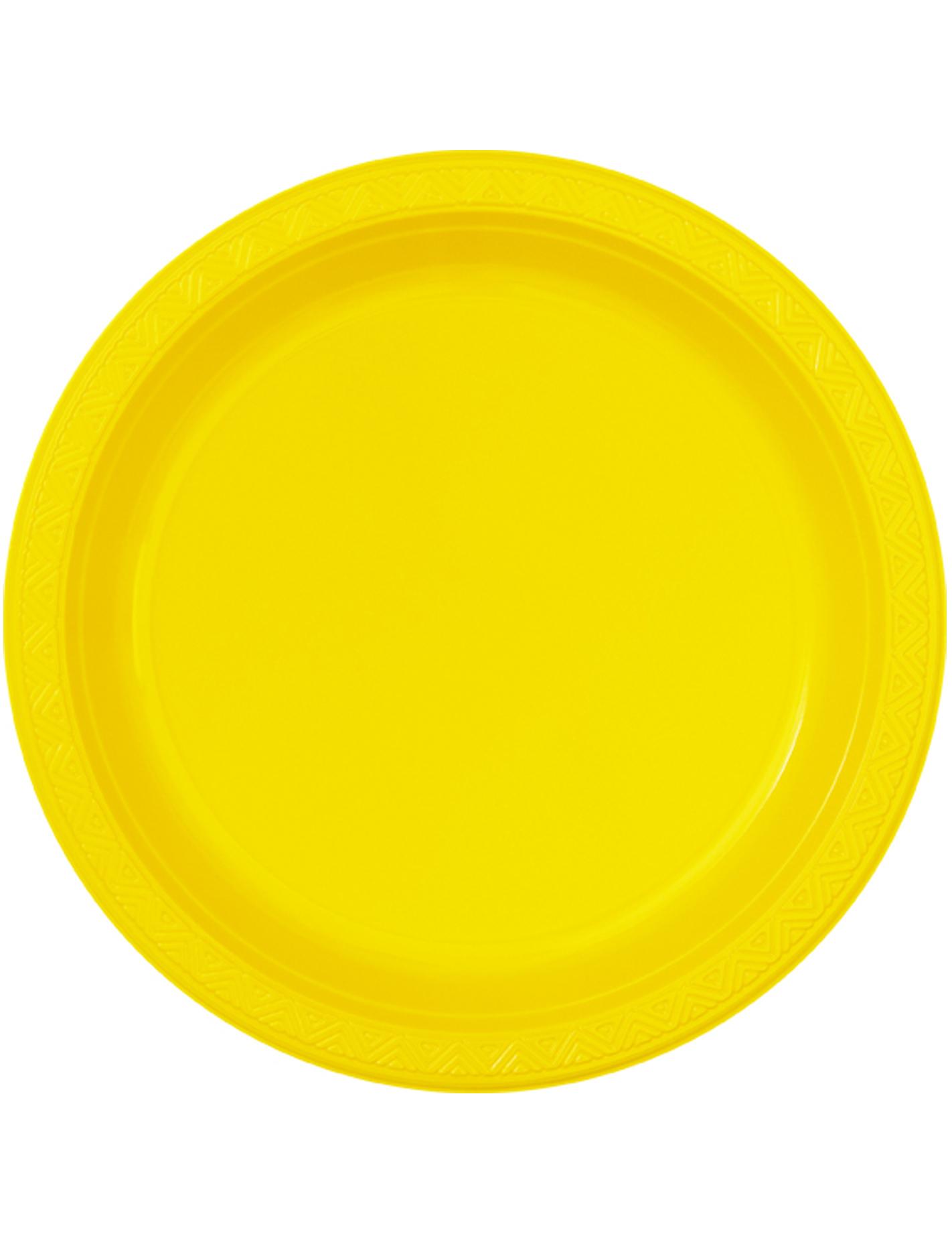 6 grandes assiettes jaunes rondes en plastique 25 cm. Black Bedroom Furniture Sets. Home Design Ideas