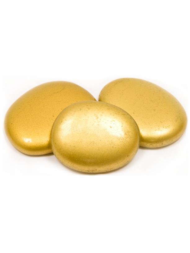 10 Marque-places galets de verre dorés 4.5 cm, décoration ...