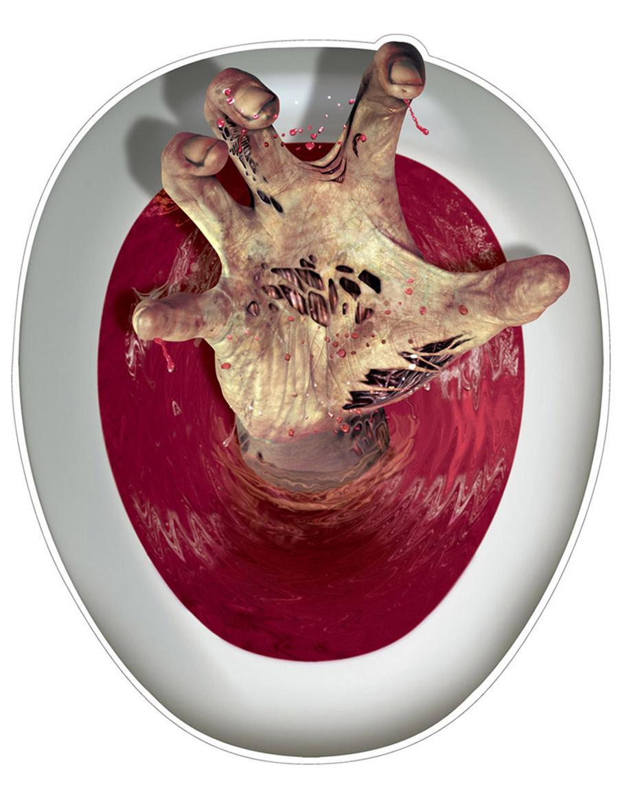 Comment Decorer Les Wc décoration autocollante pour wc main de zombie 30,5 x 43,2 cm, décoration  anniversaire et fêtes à thème sur vegaoo party