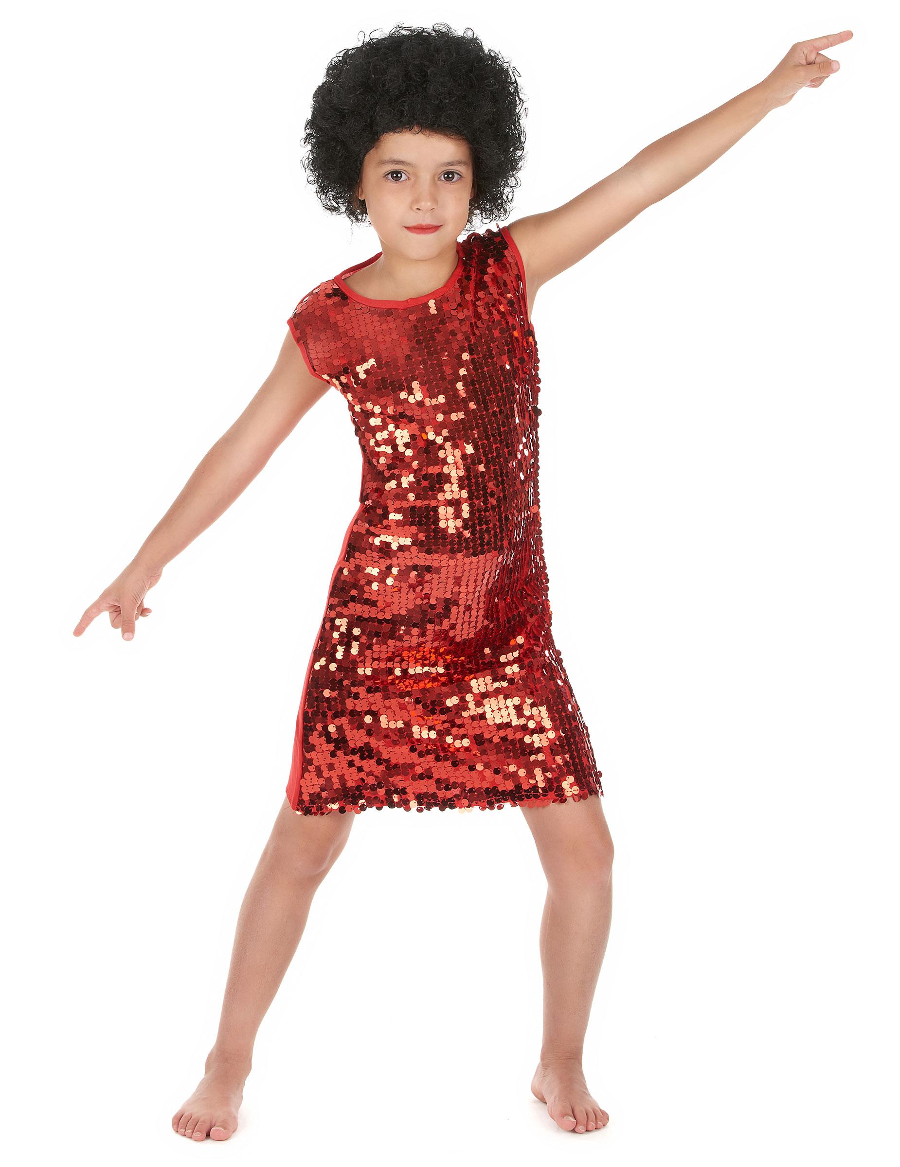 fab56768262f9 Déguisement disco fille rouge à paillettes