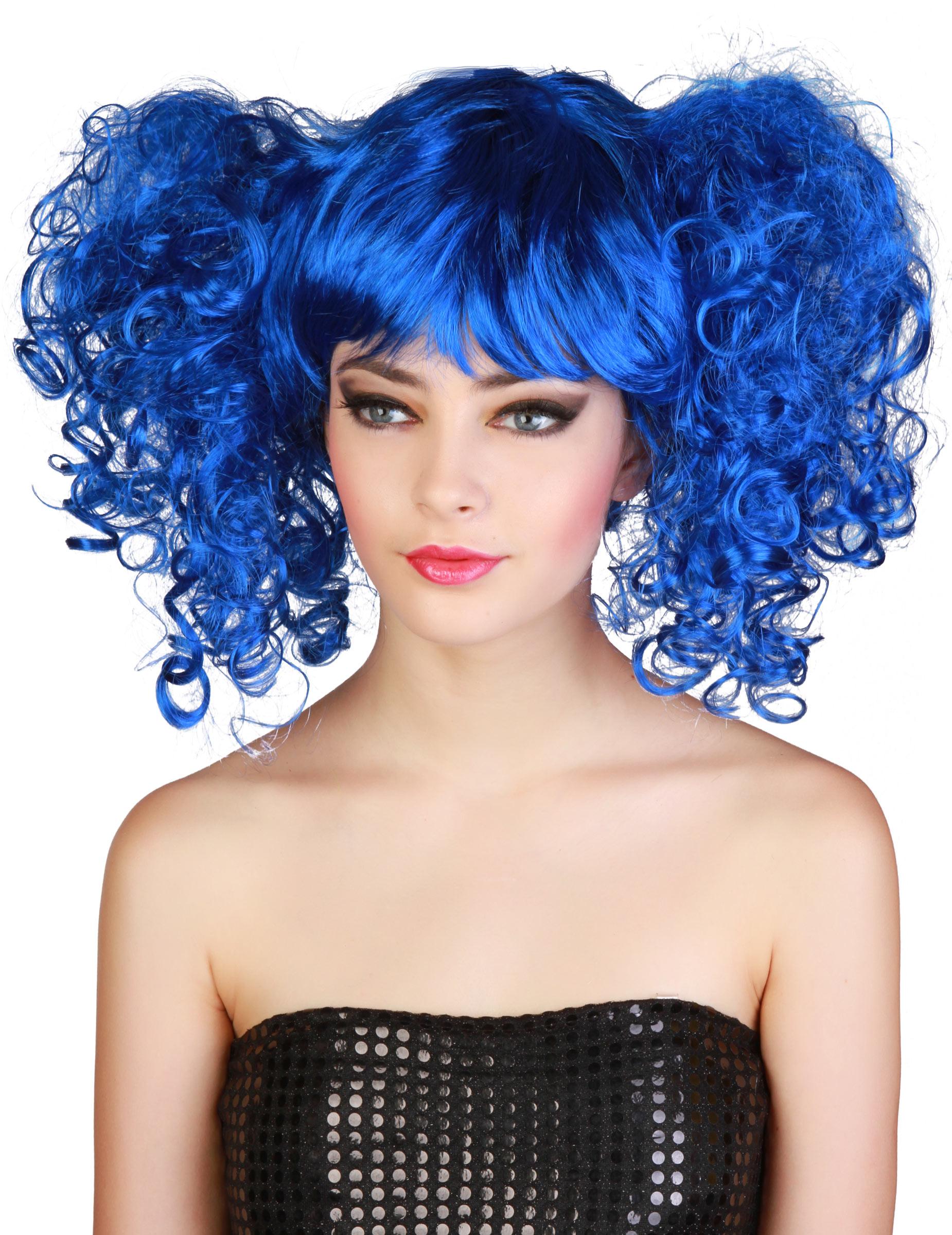 Perruque bleue à couettes femme, décoration