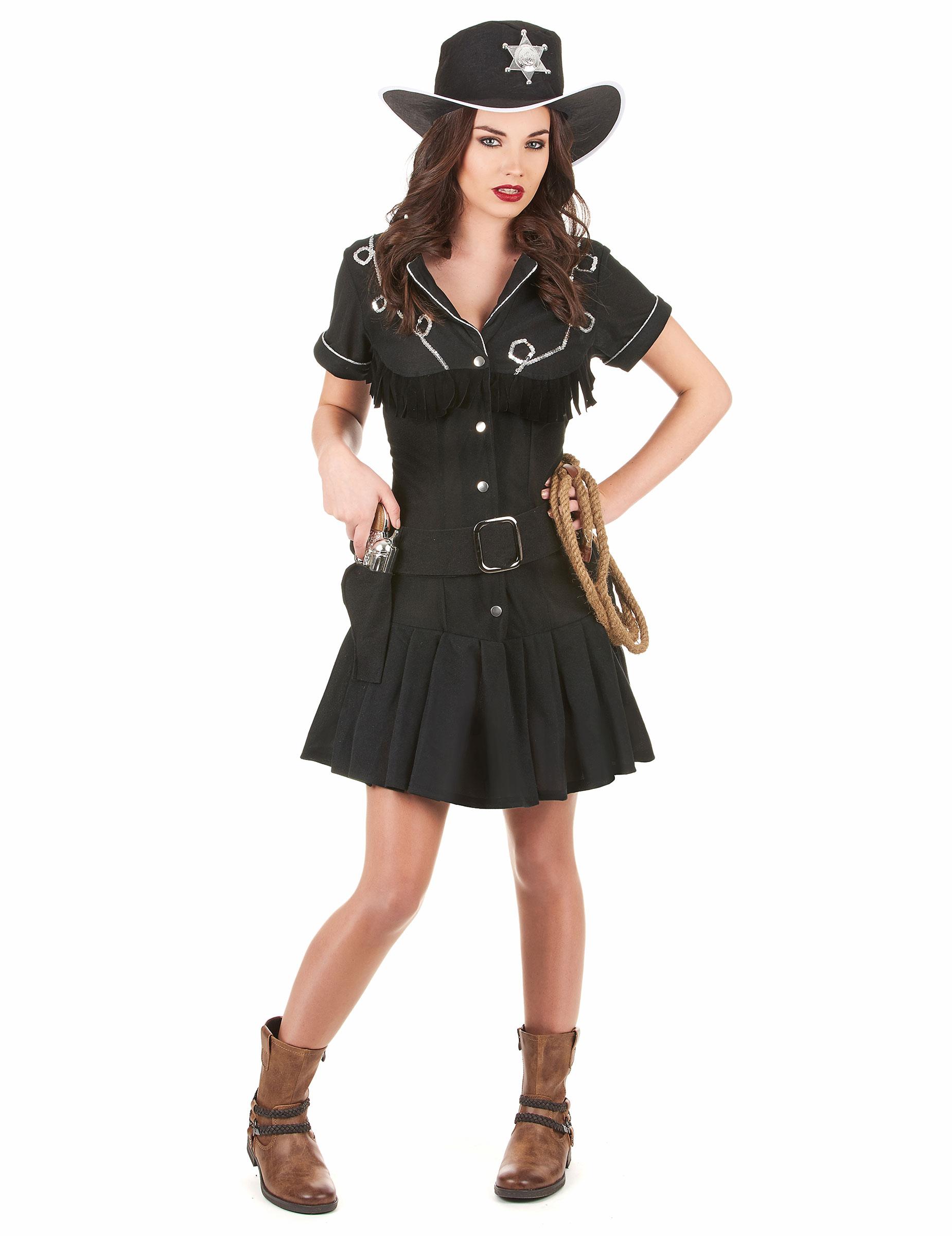 Décoration Et Noire Cow Girl Anniversaire Robe Femme Déguisement XS1wOF