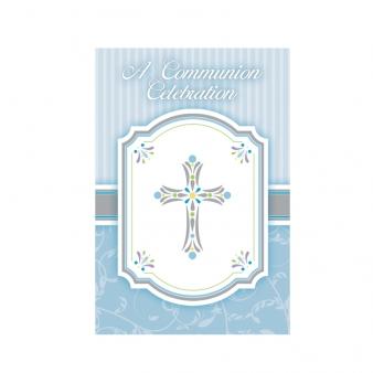 20 cartes d 39 invitation bleues communion gar on d coration anniversaire et f tes th me sur. Black Bedroom Furniture Sets. Home Design Ideas