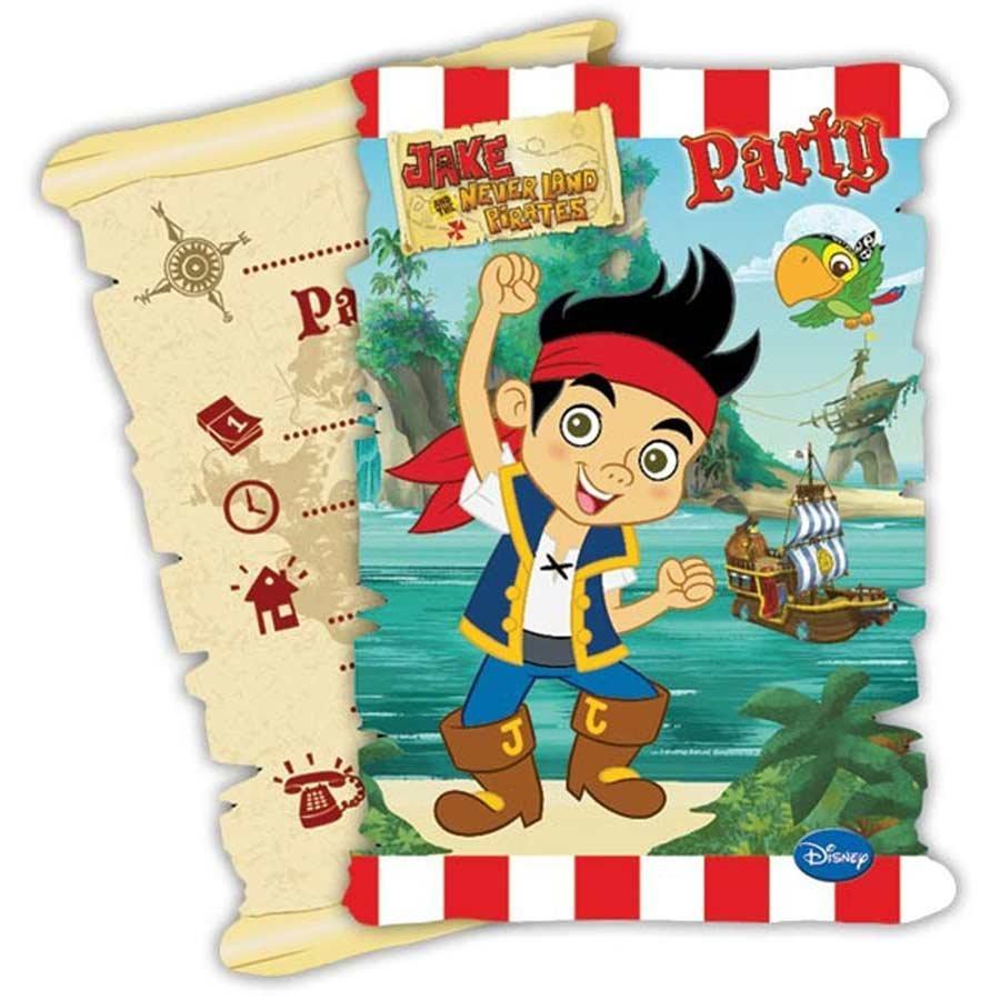 6 cartes d 39 invitation avec enveloppe jake et les pirates - Jack et le pirate ...