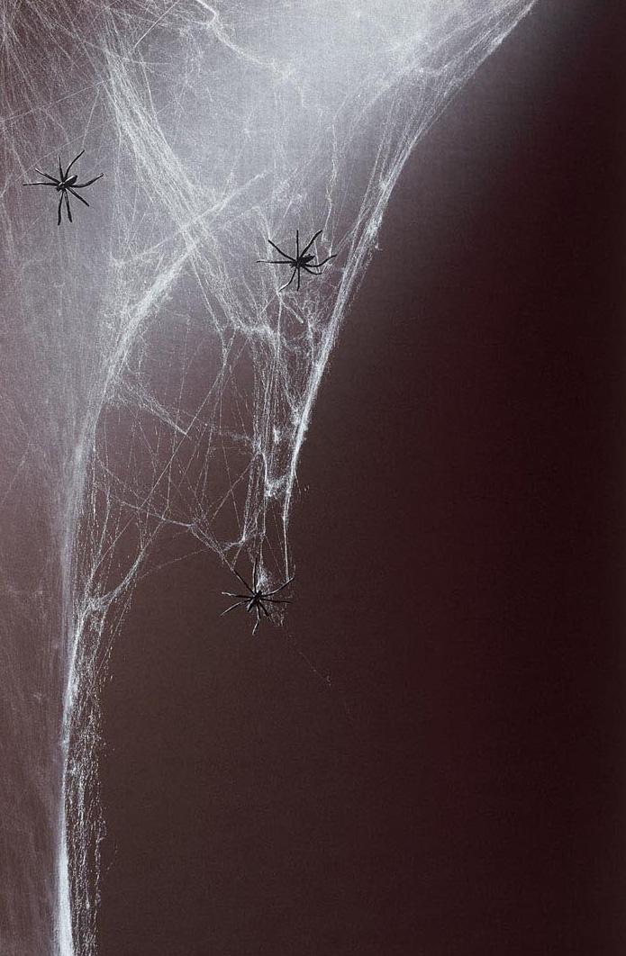 toile d 39 araign e blanche 500g et araign es halloween. Black Bedroom Furniture Sets. Home Design Ideas