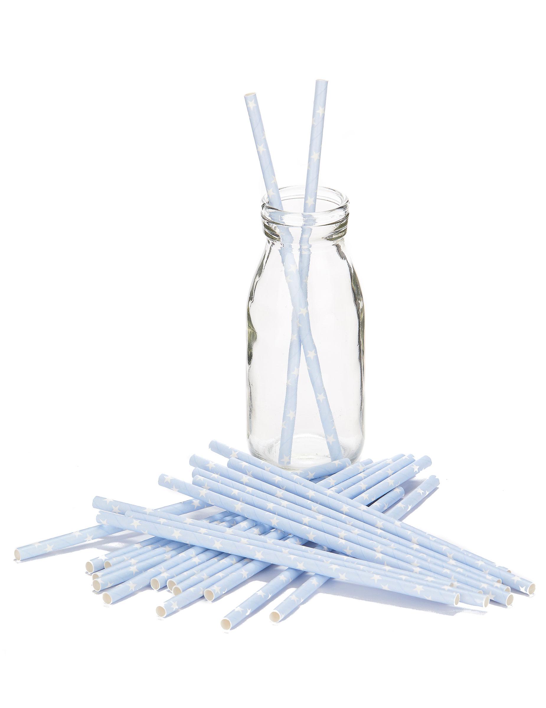 24 pailles bleu ciel toiles blanches d coration anniversaire et f tes th me sur vegaoo party. Black Bedroom Furniture Sets. Home Design Ideas