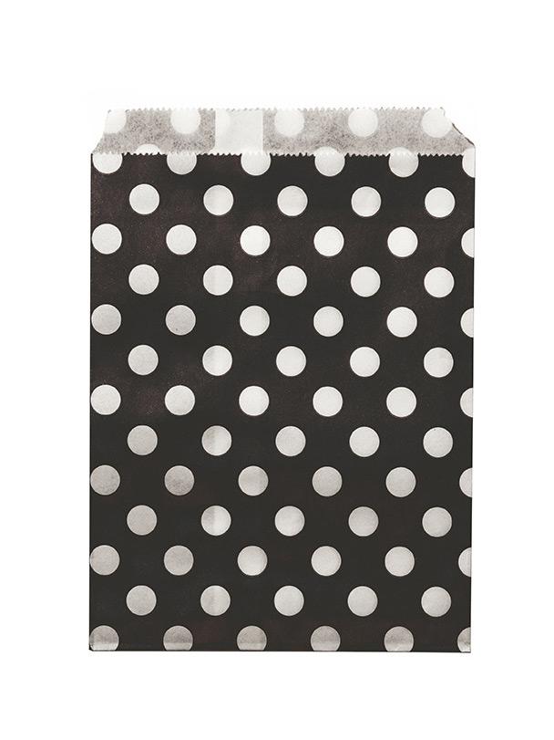 24 sachets papier noir pois blancs d coration anniversaire et f tes th me sur vegaoo party. Black Bedroom Furniture Sets. Home Design Ideas