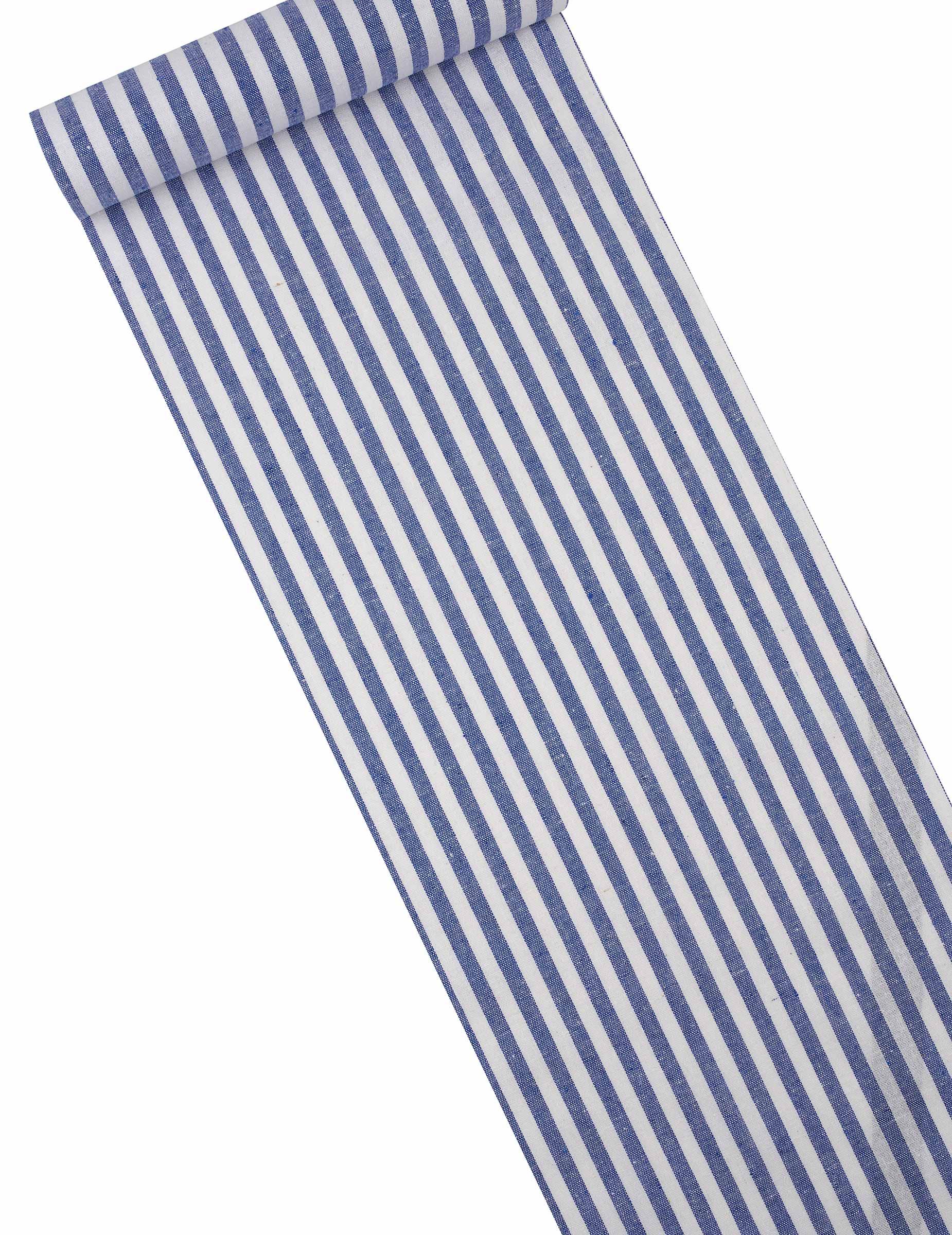 chemin de table ray bleu marine et blanc