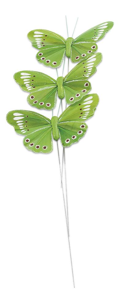 3 papillons vert anis sur tige d coration anniversaire et f tes th me sur vegaoo party - Papillon sur tige ...