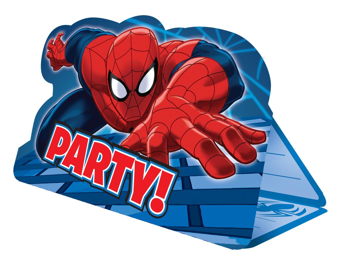 8 cartes d 39 invitation avec enveloppes spiderman - Decoration spiderman pour anniversaire ...
