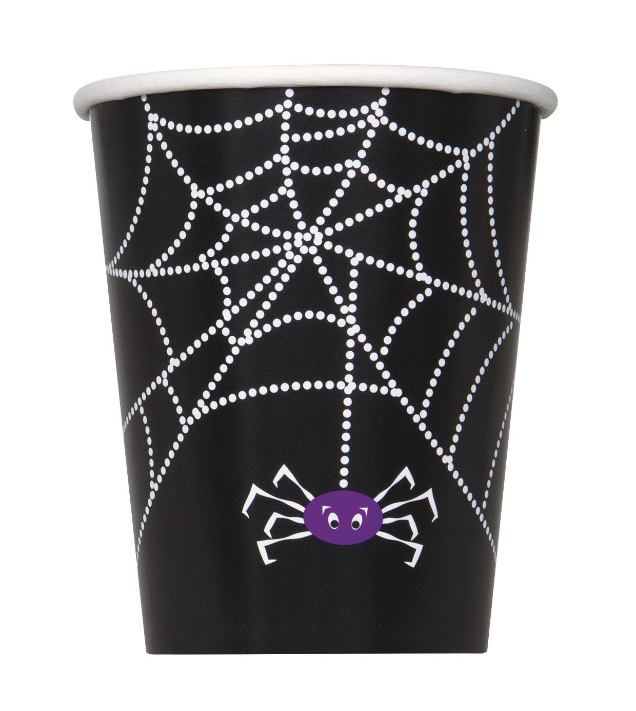8 gobelets en carton toile d 39 araign e halloween 255 ml. Black Bedroom Furniture Sets. Home Design Ideas