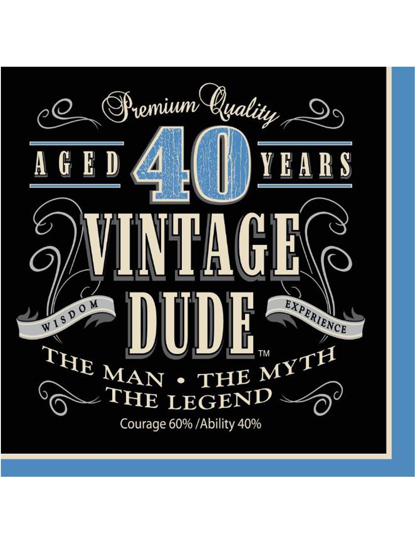 16 Serviettes En Papier Vintage 40 Ans 33 X 33 Cm Decoration