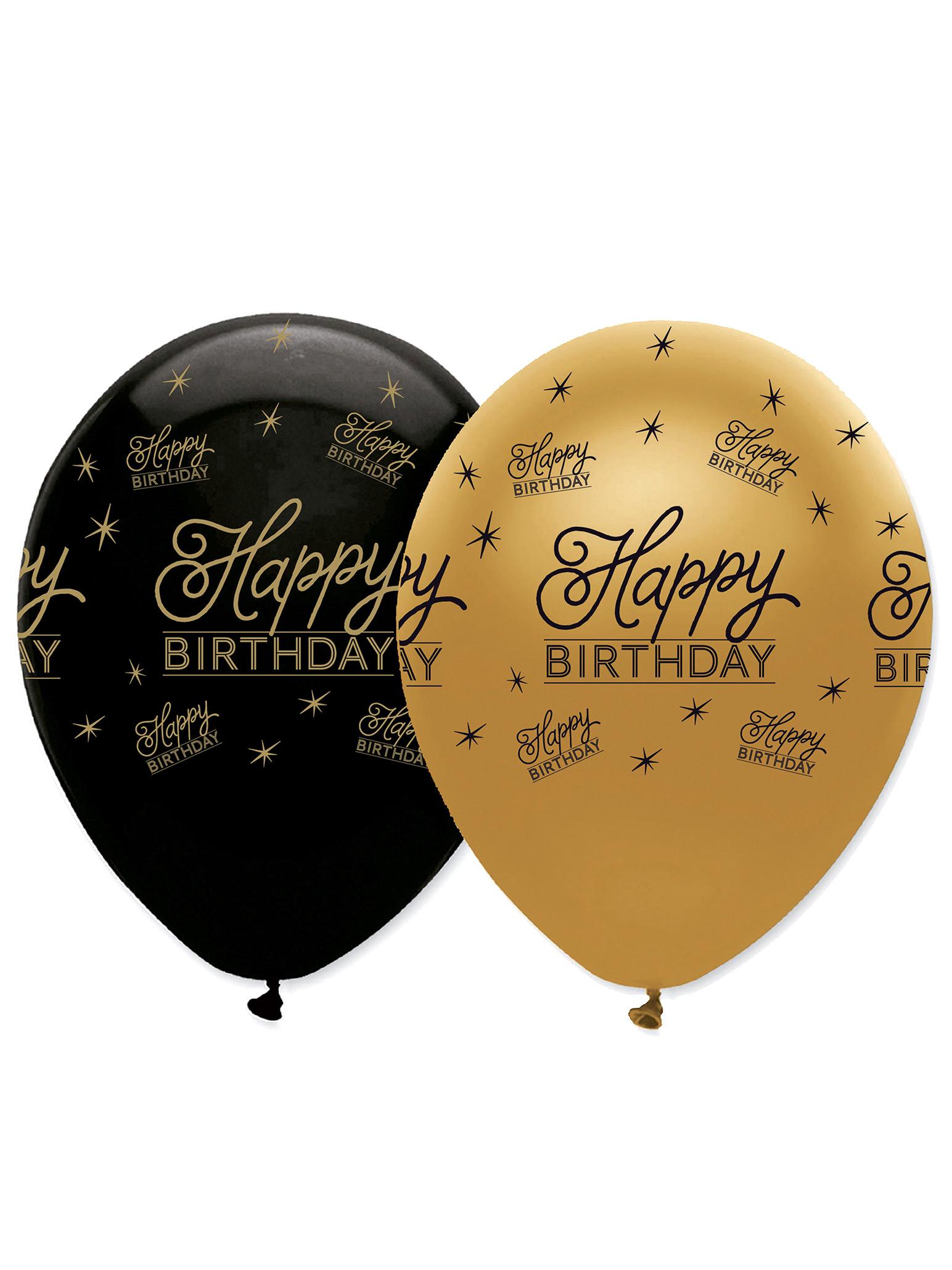 6 Ballons Happy Birthday Noir Et Or Décoration Anniversaire Et Fêtes à Thème Sur Vegaoo Party