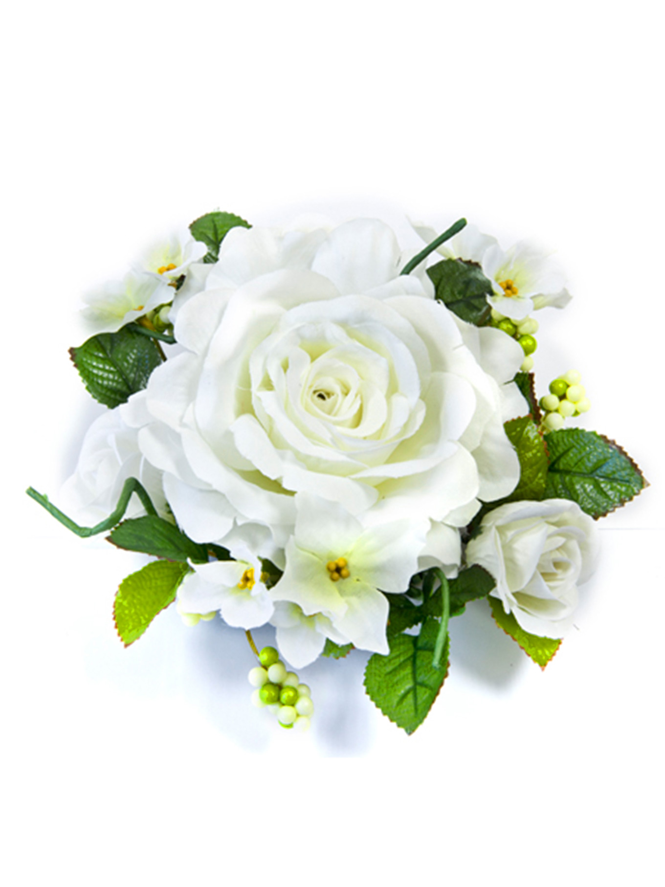 Centre de table fleurs artificielles roses blanches 20 cm for Bouquet de fleurs centre de table