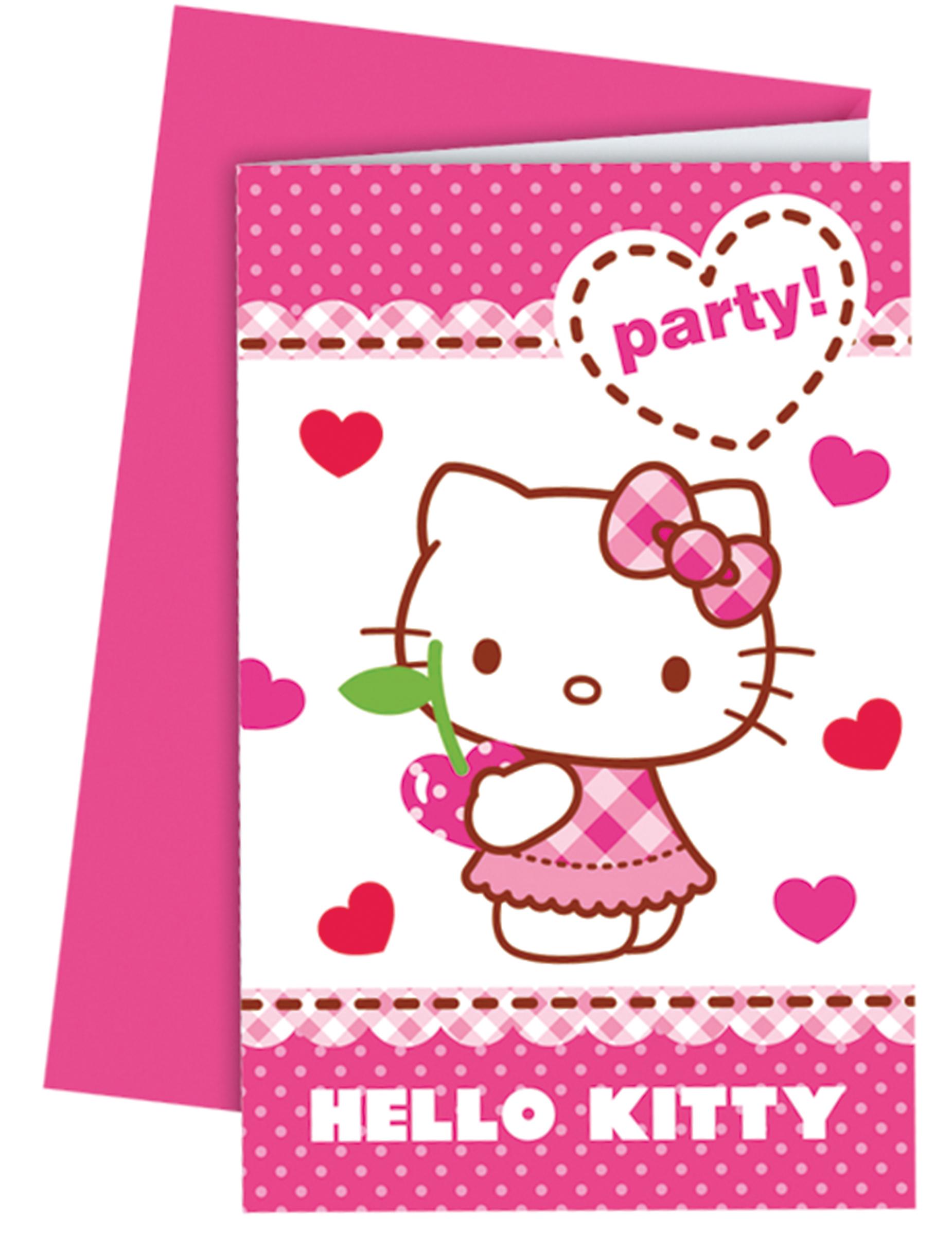6 Cartes d'invitation avec enveloppes Hello Kitty™, décoration anniversaire et fêtes à thème sur ...