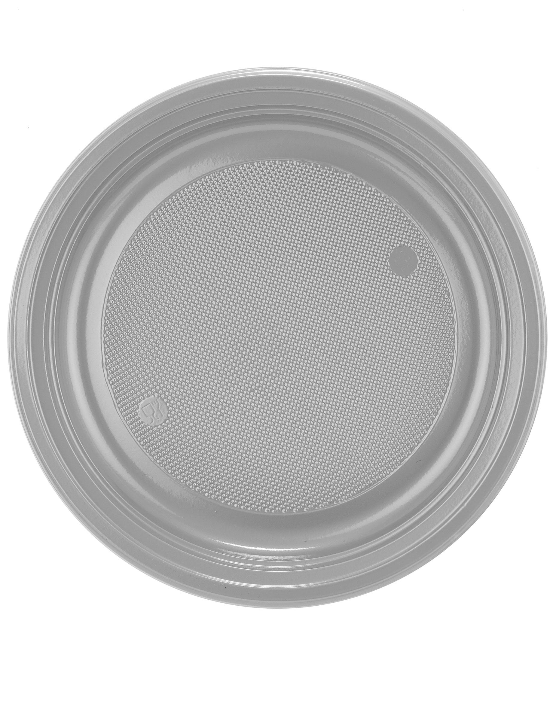 30 assiettes en plastique gris argent 22 cm d coration anniversaire et f tes th me sur. Black Bedroom Furniture Sets. Home Design Ideas