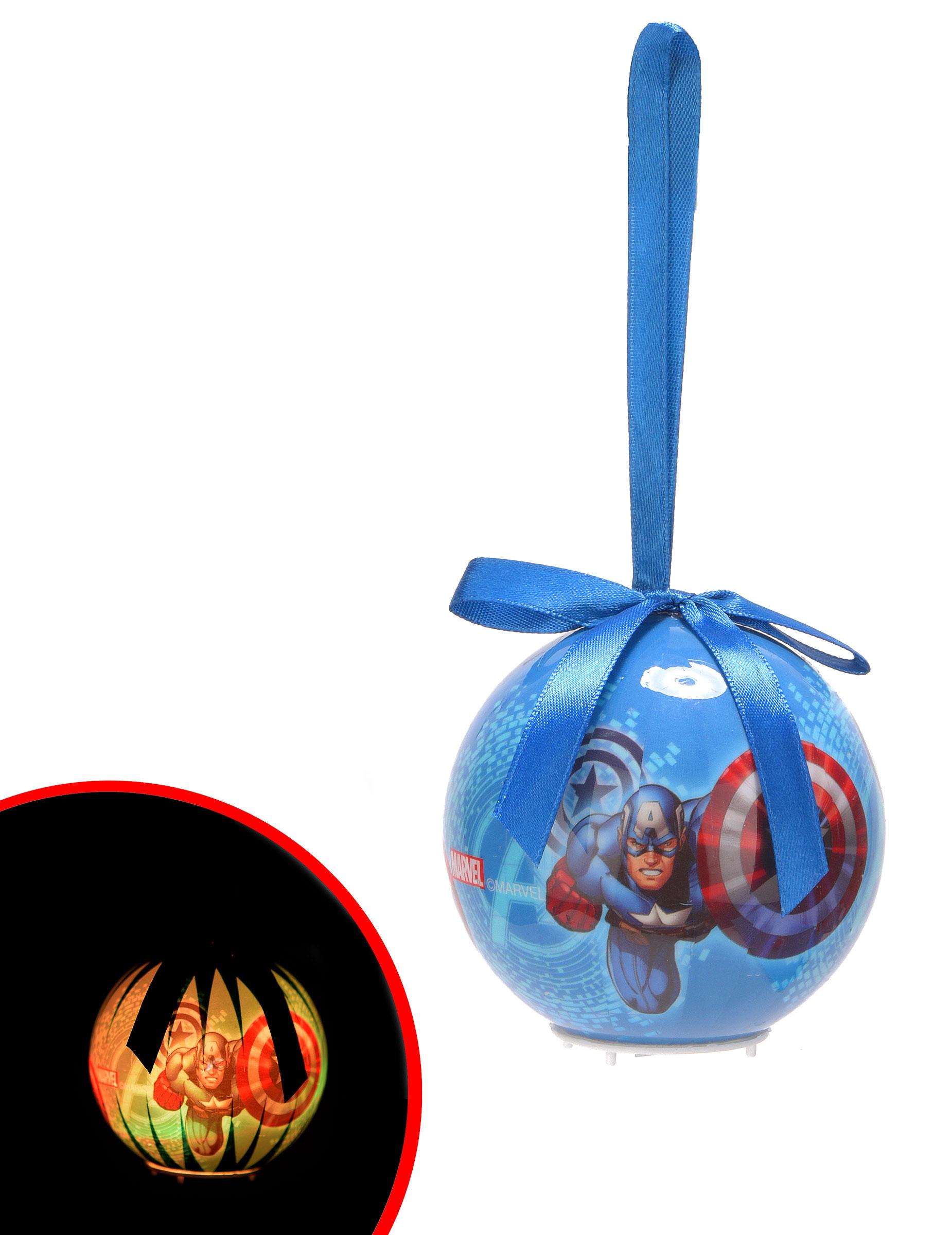 boule de noël lumineuse avengers™ 7,5 cm, décoration anniversaire et
