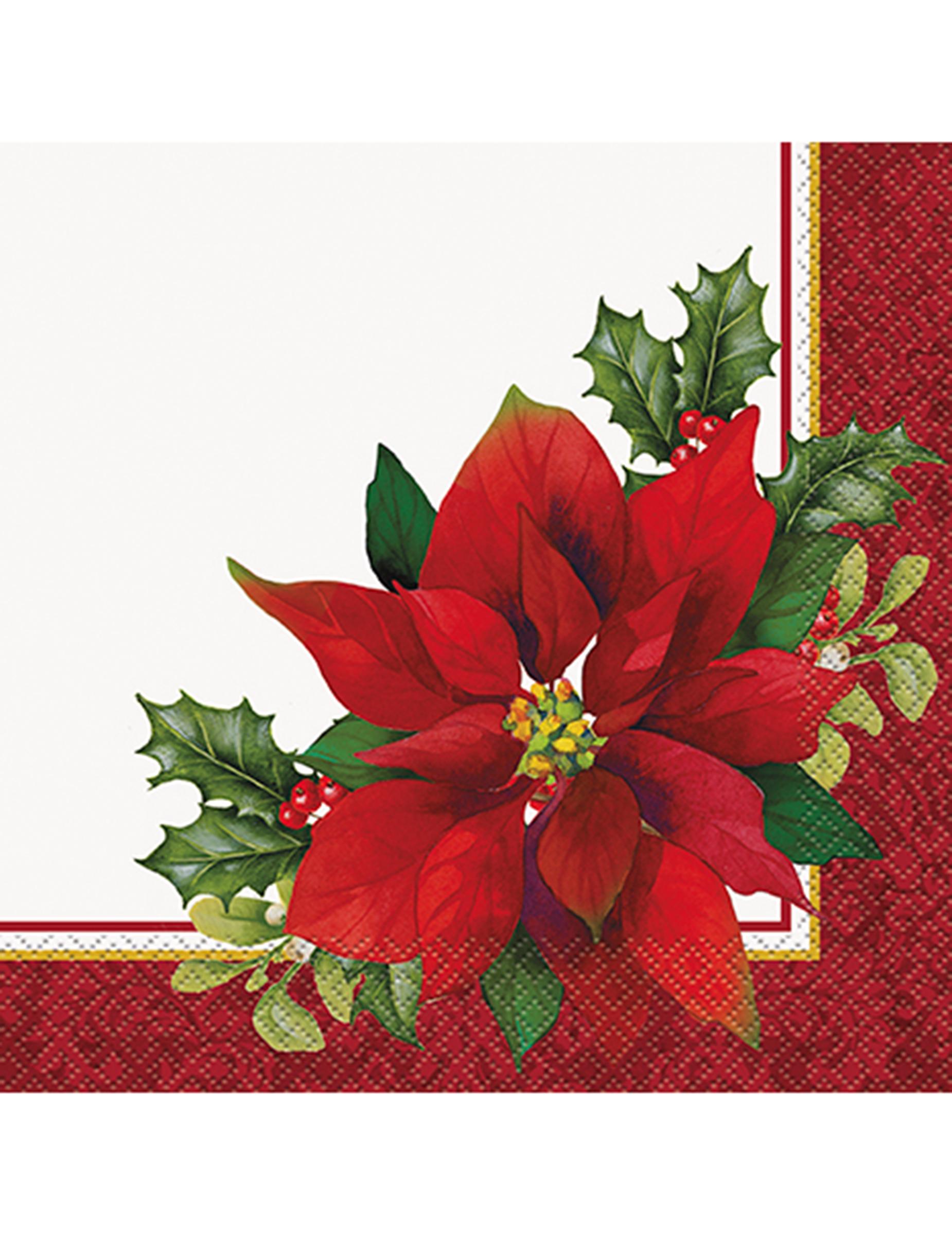 16 Serviettes en papier Fleurs de Noël 33 x 33 cm ...