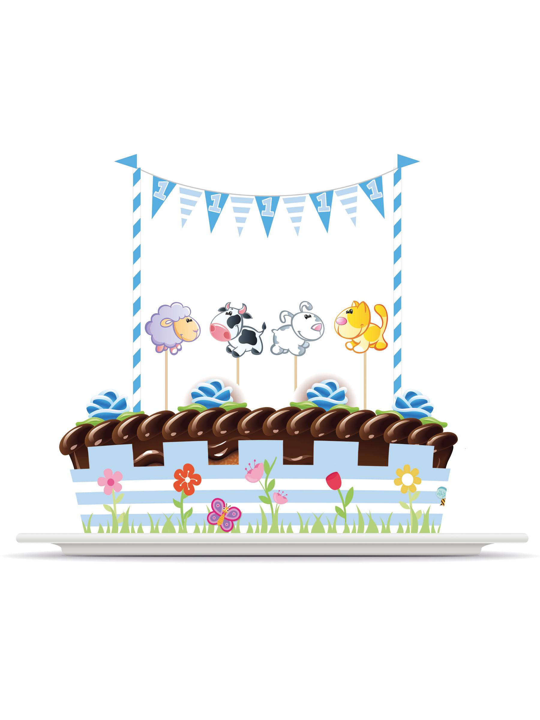 kit de d corations pour g teau animaux 1 an gar on d coration anniversaire et f tes th me sur. Black Bedroom Furniture Sets. Home Design Ideas