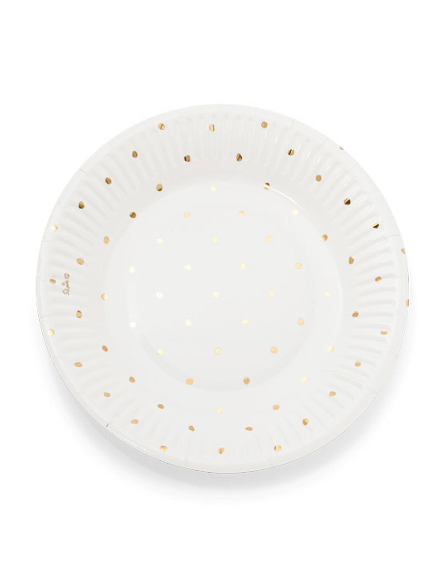 12 petites assiettes en carton blanches pois dor s 18cm. Black Bedroom Furniture Sets. Home Design Ideas