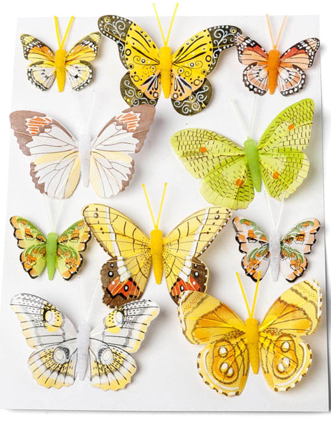10 papillons jaunes sur tige d coration anniversaire et f tes th me sur vegaoo party - Papillon sur tige ...