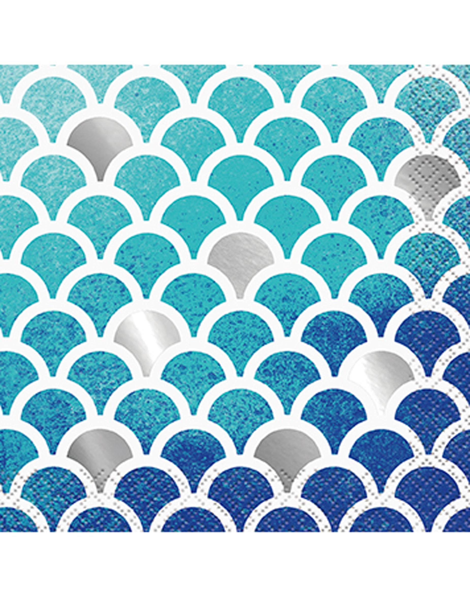 Serviettes En Papier Originales 16 petites serviettes en papier sirène 24.5 x 24.5 cm, décoration  anniversaire et fêtes à thème sur vegaoo party