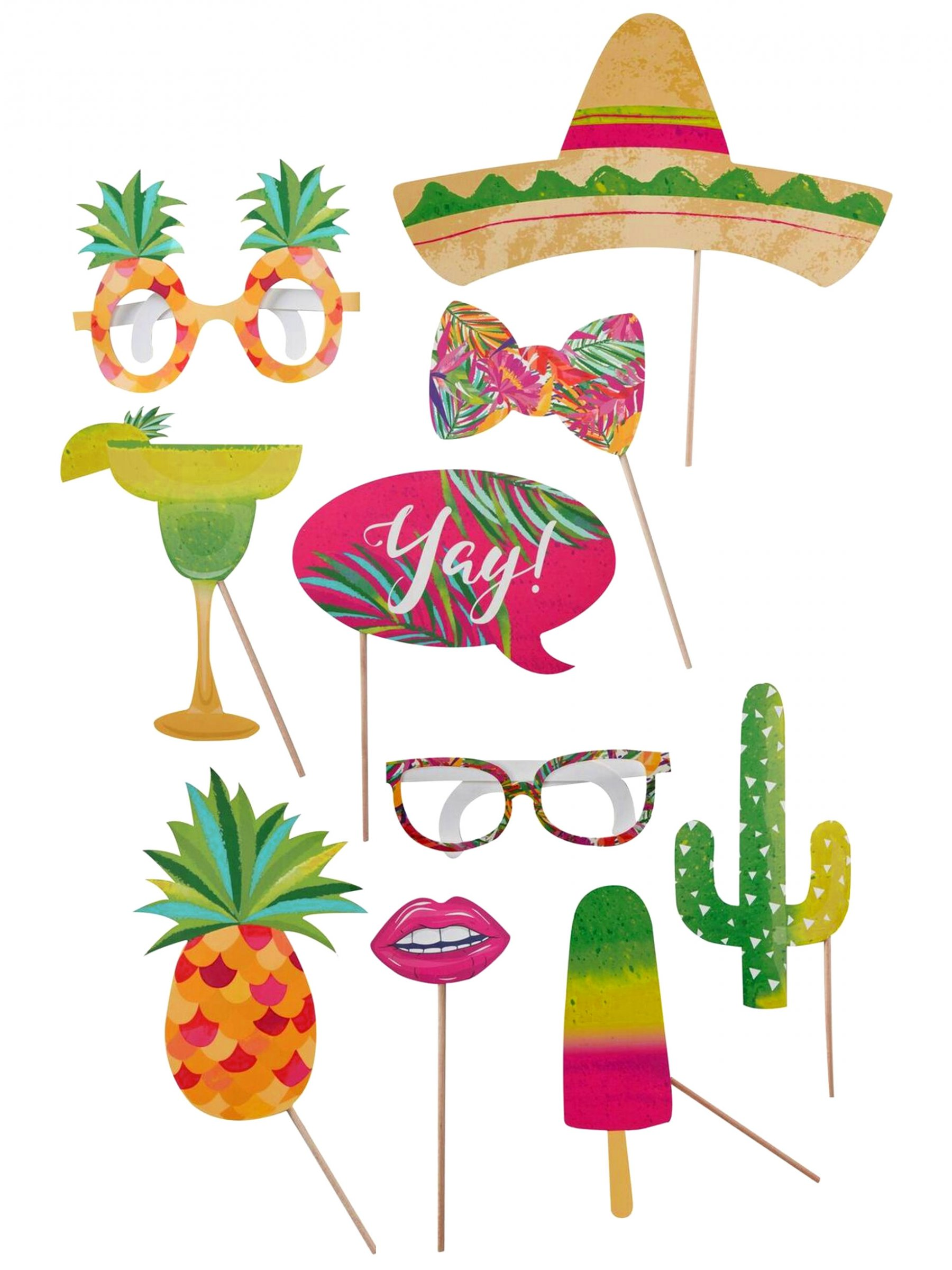 kit photobooth 10 pi ces tropical d coration anniversaire et f tes th me sur vegaoo party. Black Bedroom Furniture Sets. Home Design Ideas
