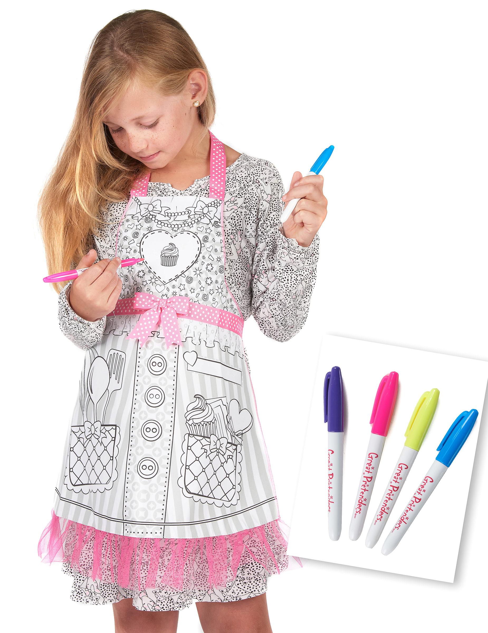 Tablier lavable colorier miss cupcake fille d coration - Fille a colorier ...