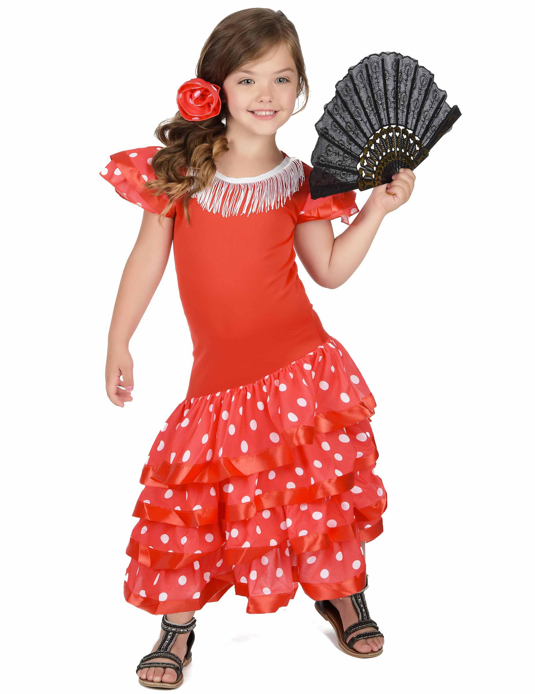 08021098633f4 Déguisement Danseuse Flamenco Rouge à Pois Blanc Fille