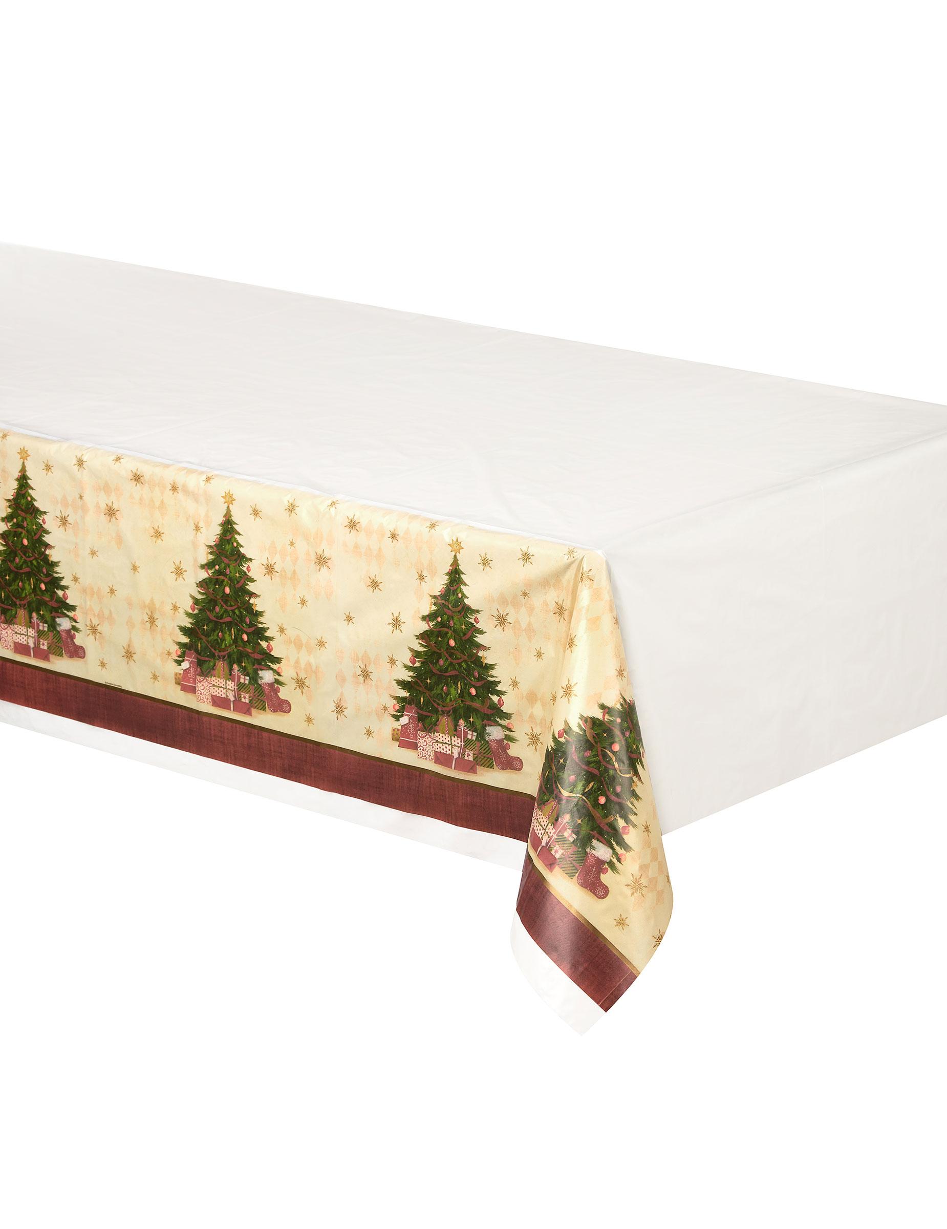 nappe en plastique sapin de no l 137cm x 259 cm d coration anniversaire et f tes th me sur. Black Bedroom Furniture Sets. Home Design Ideas
