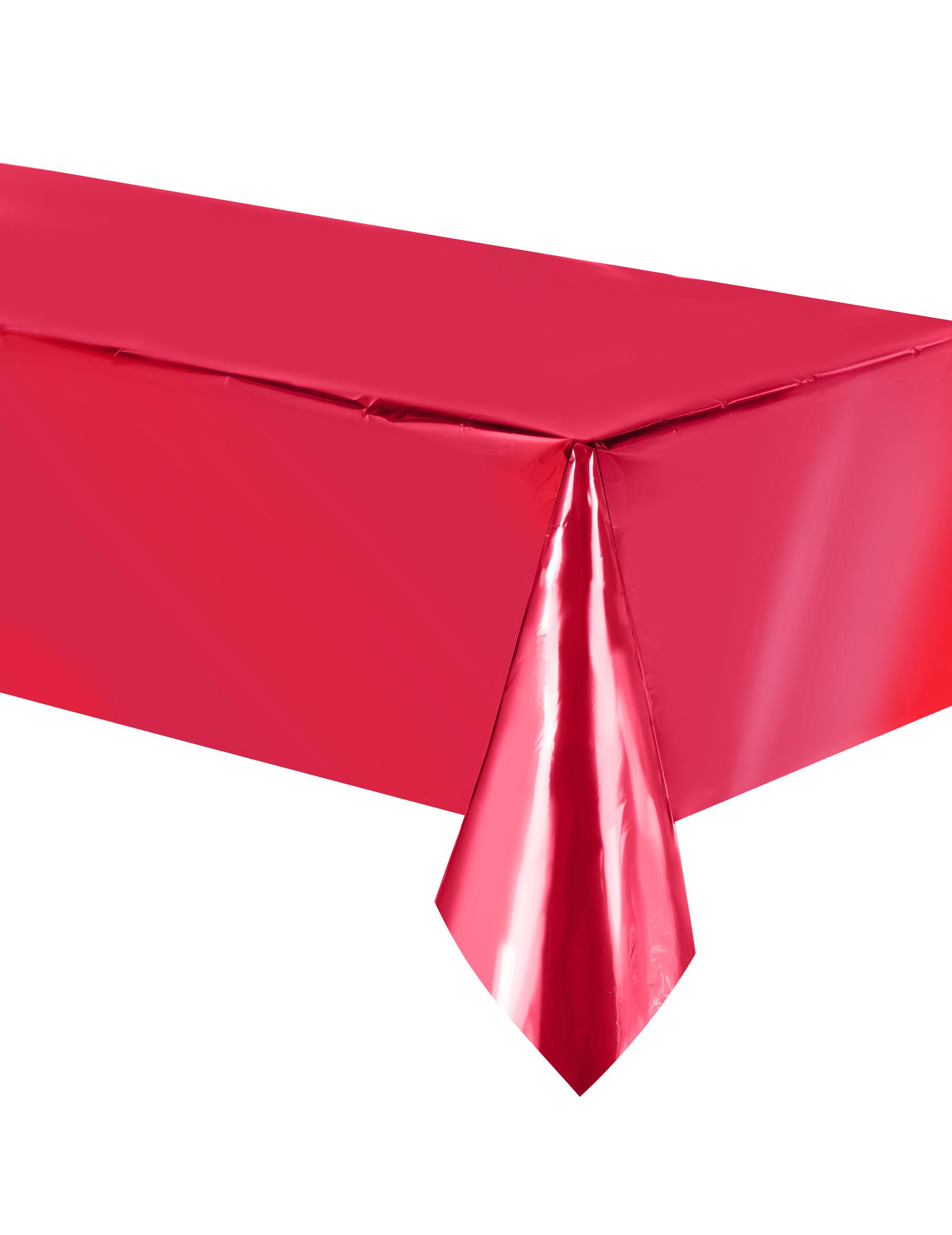 nappe en plastique rouge m tallis 137 x 274 cm d coration anniversaire et f tes th me sur. Black Bedroom Furniture Sets. Home Design Ideas