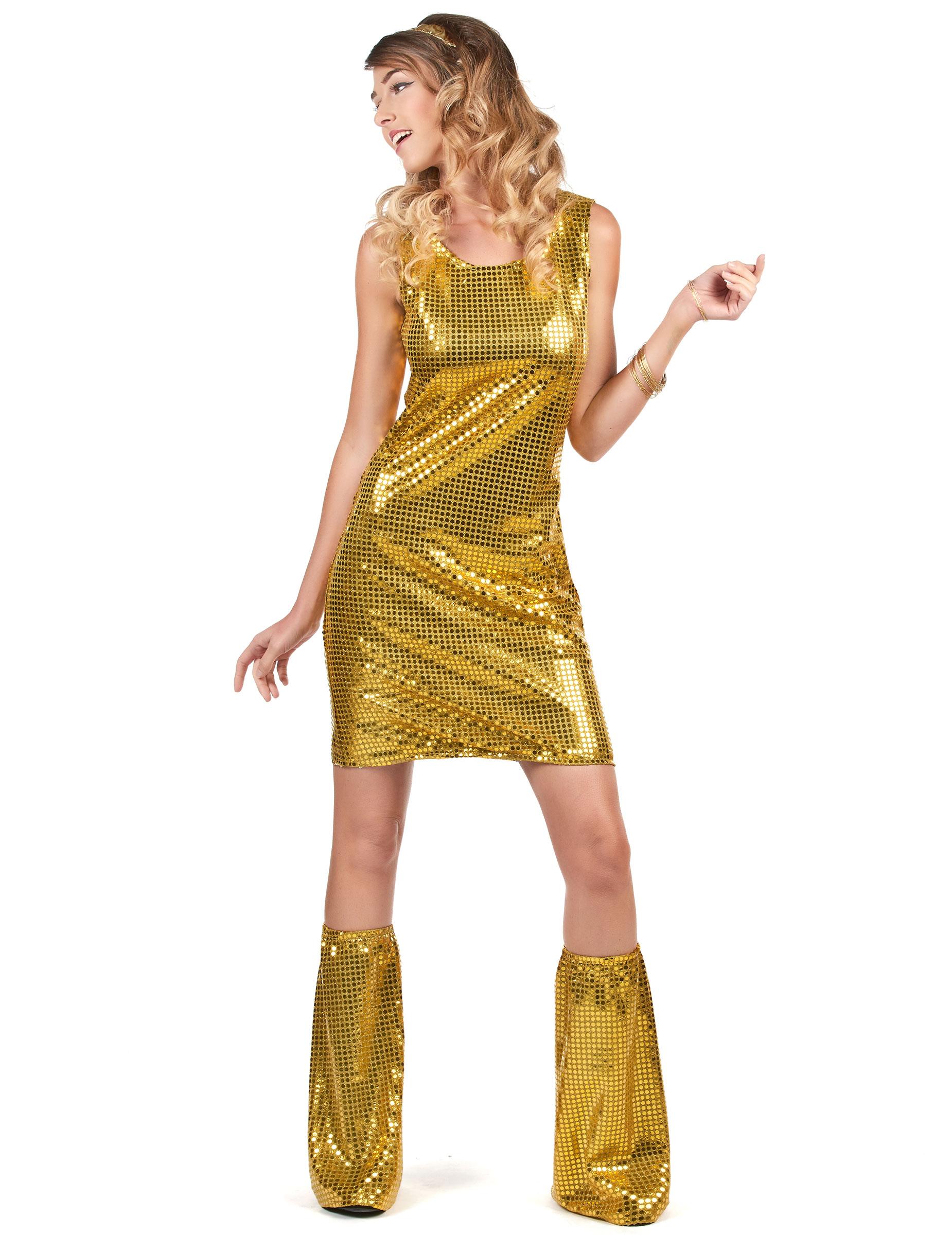 157b65587ef18 Déguisement Disco doré à sequins femme-1