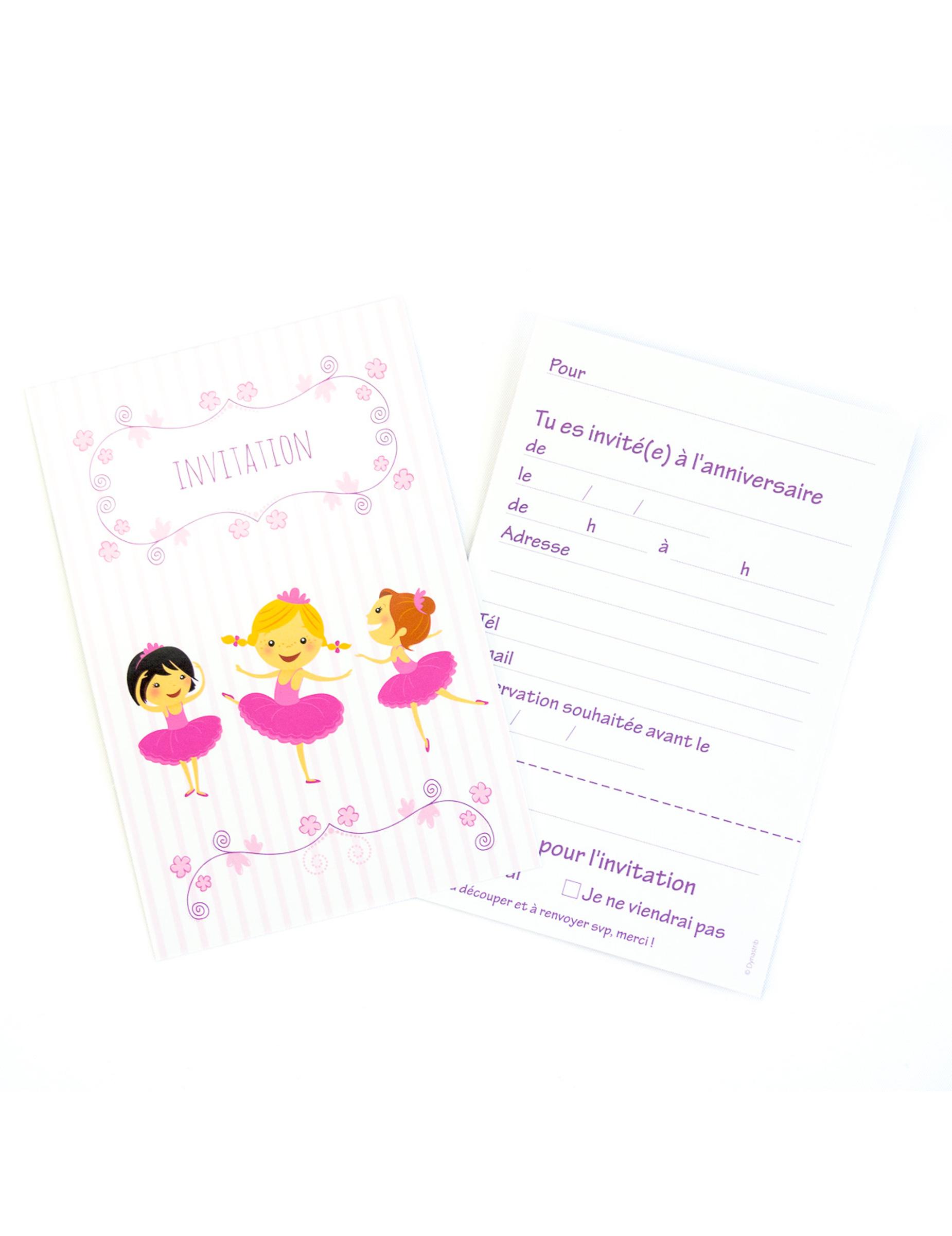 6 cartons d 39 invitation avec enveloppes ballerines 10 x 15 cm d coration anniversaire et f tes. Black Bedroom Furniture Sets. Home Design Ideas