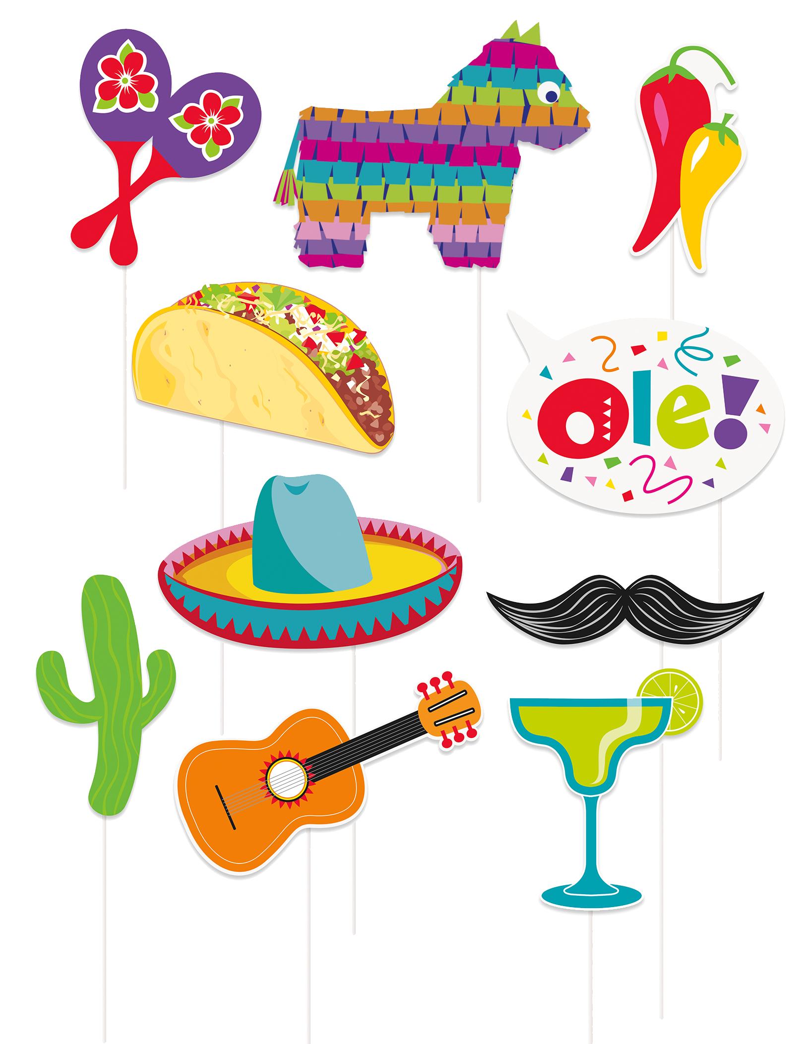 Kit photobooth th/ème Mexique 13 Accessoires