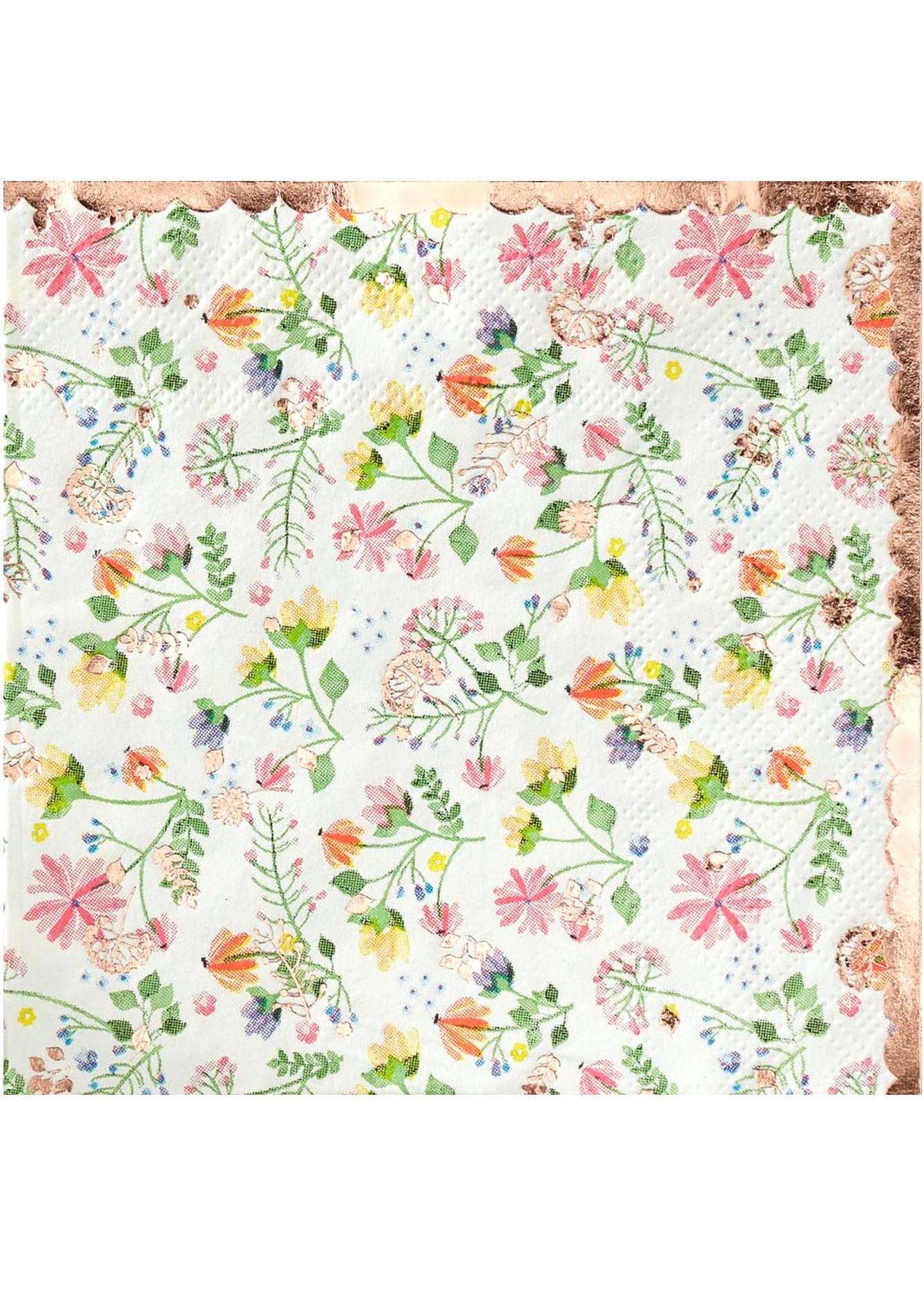 Serviettes En Papier Originales 16 petites serviettes en papier rose gold floral 25 x 25 cm, décoration  anniversaire et fêtes à thème sur vegaoo party