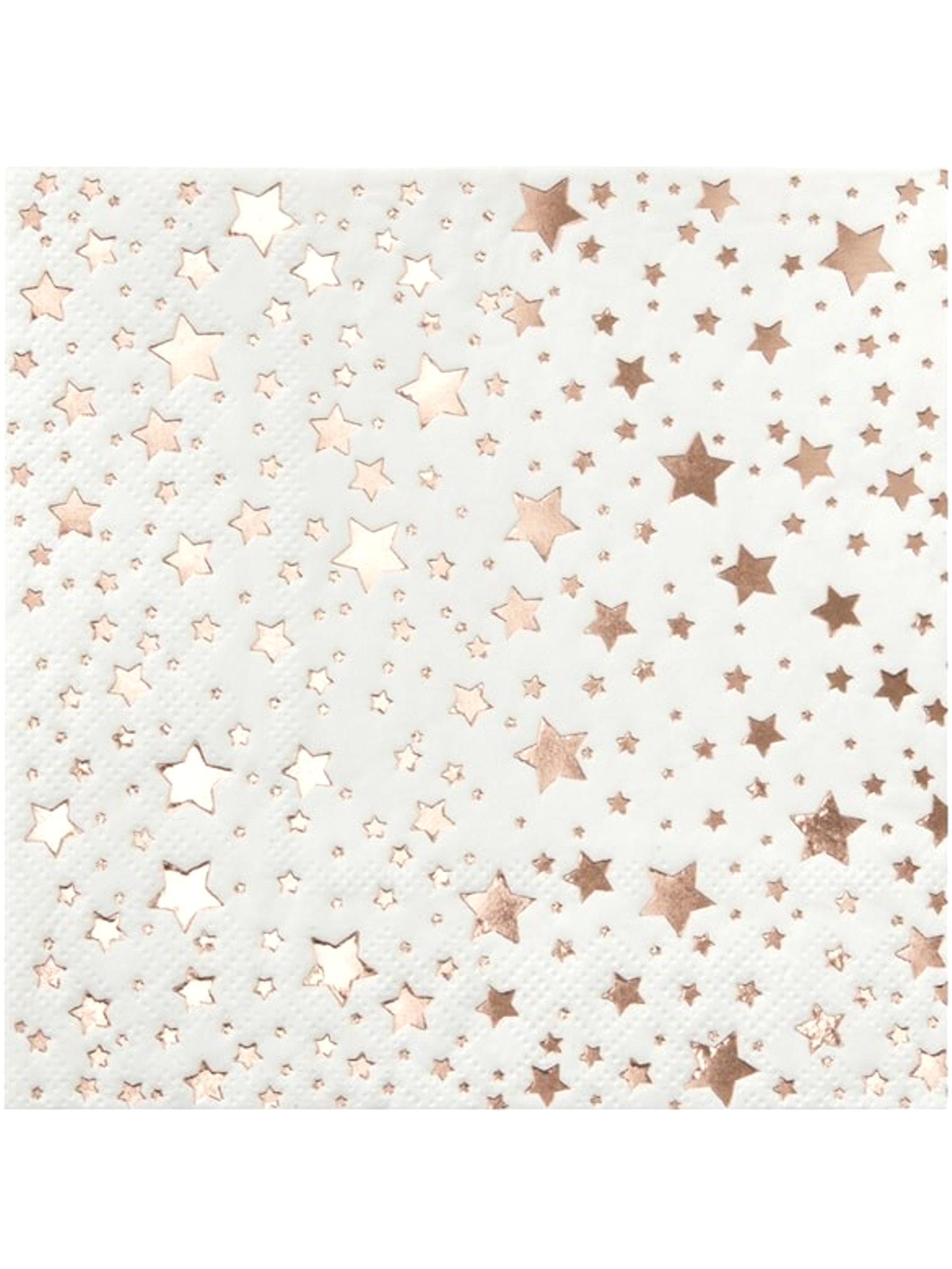 Serviettes En Papier Originales 20 petites serviettes en papier etoiles rose gold métallisé 25 x 25 cm,  décoration anniversaire et fêtes à thème sur vegaoo party