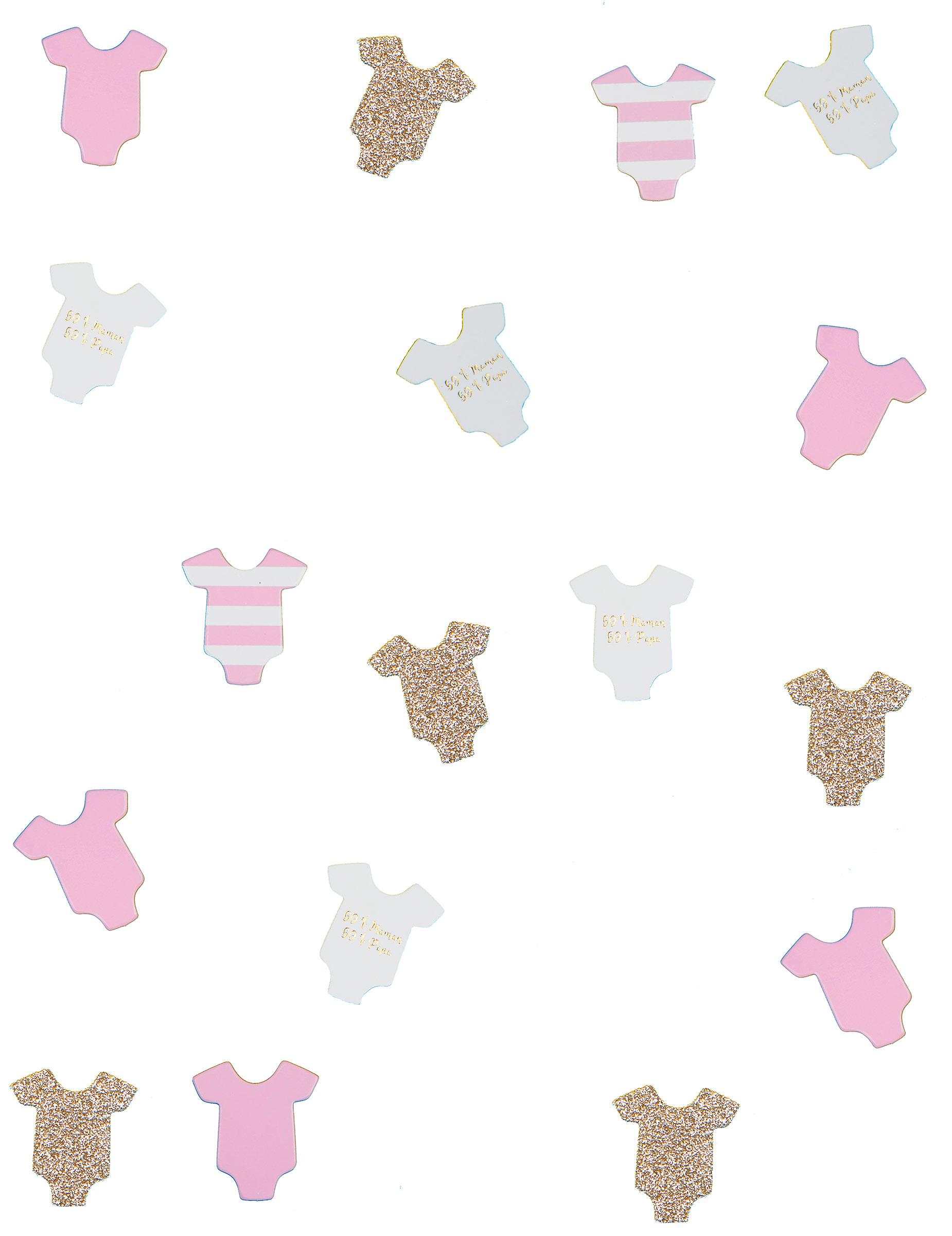 100 Confettis de table Body bébé rose 3 cm 95e7004c256