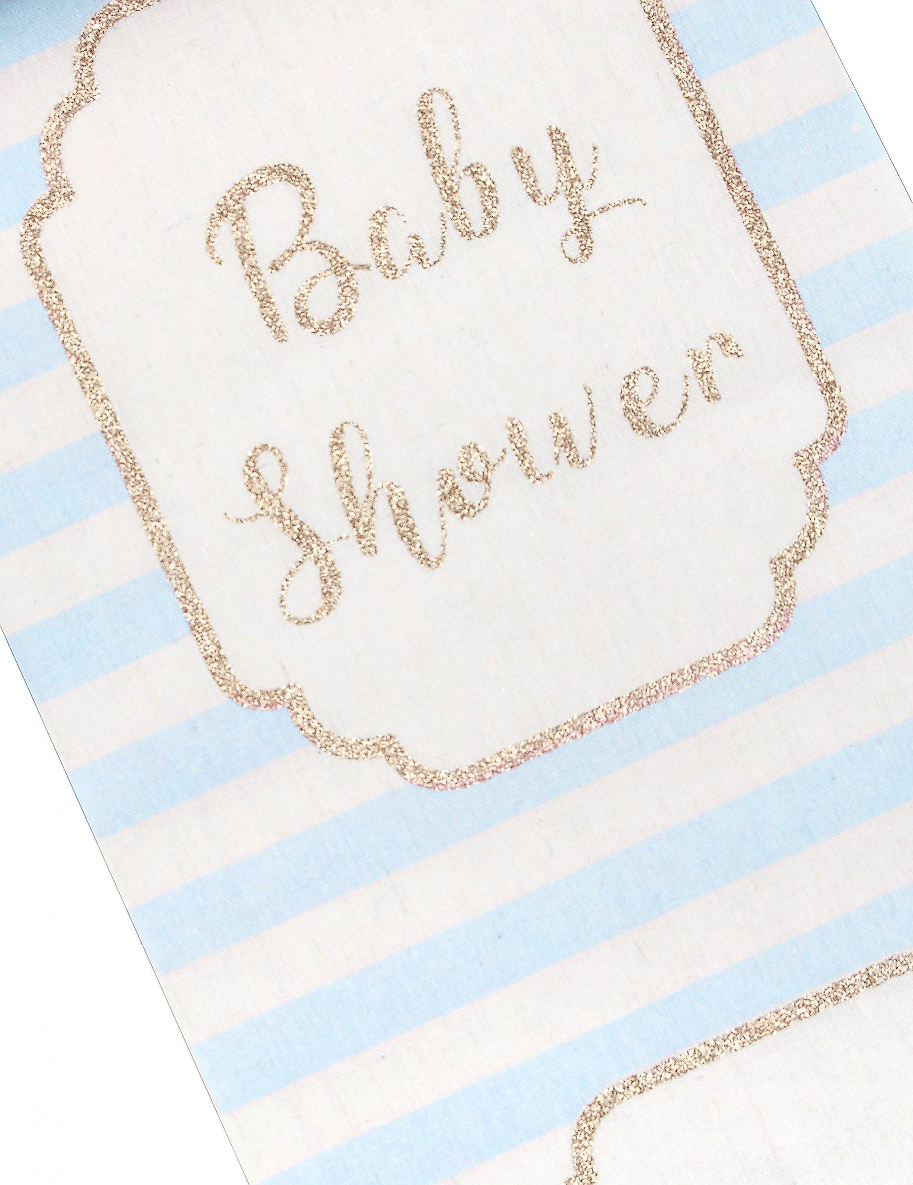 chemin de table en lin baby shower bleu 28 cm x 5 m d coration anniversaire et f tes th me. Black Bedroom Furniture Sets. Home Design Ideas