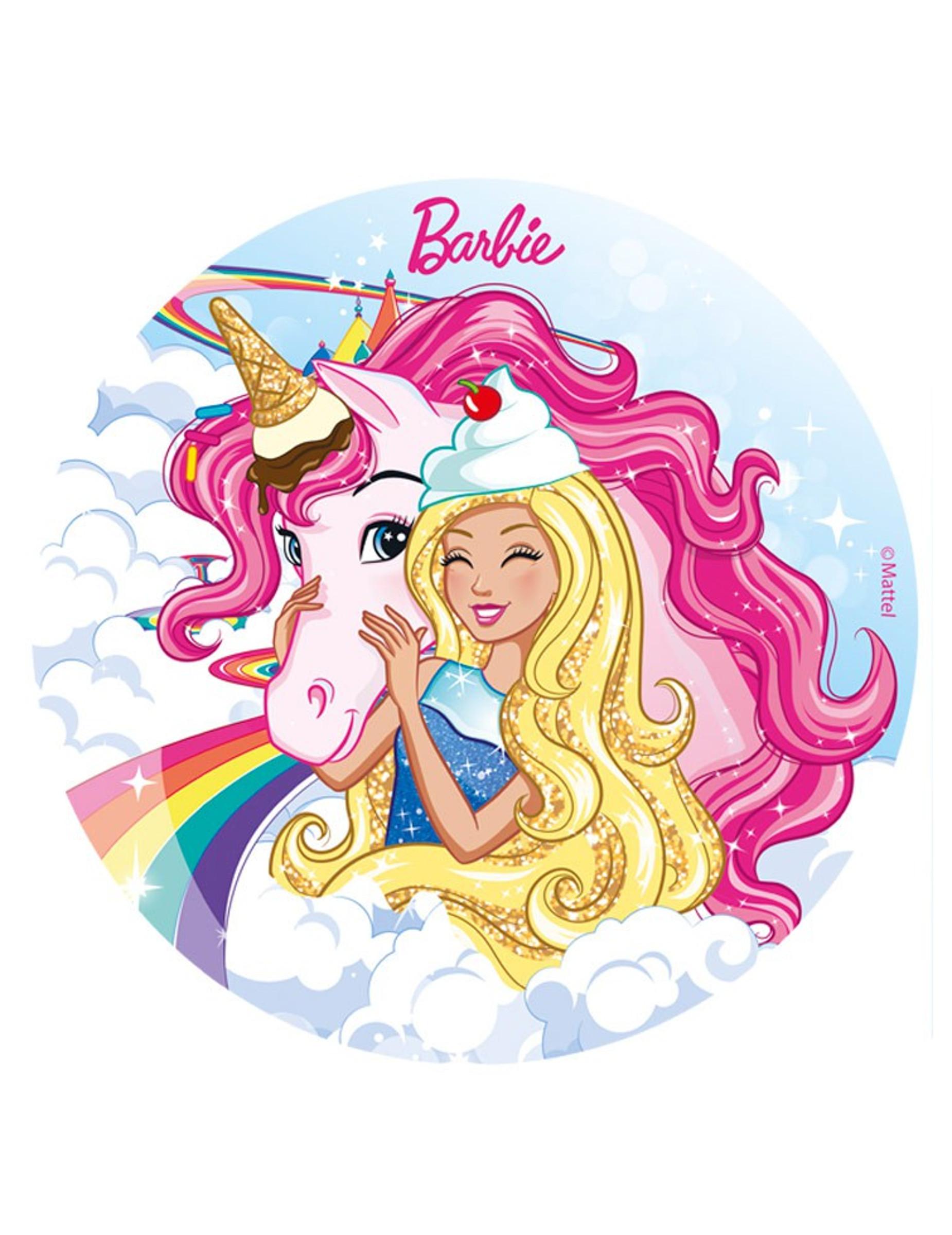 Disque en sucre barbie et sa licorne 20 cm d coration - Barbie et la licorne ...
