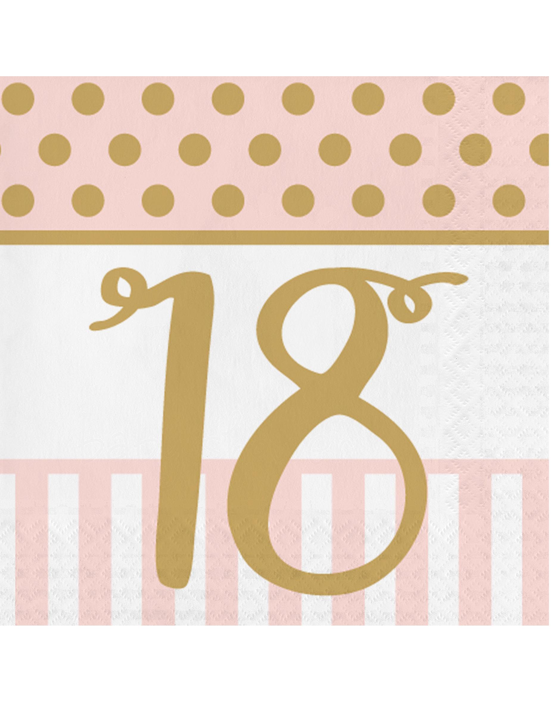 20 serviettes en papier 18 ans rose et or 33 x 33 cm d coration anniversaire et f tes th me. Black Bedroom Furniture Sets. Home Design Ideas