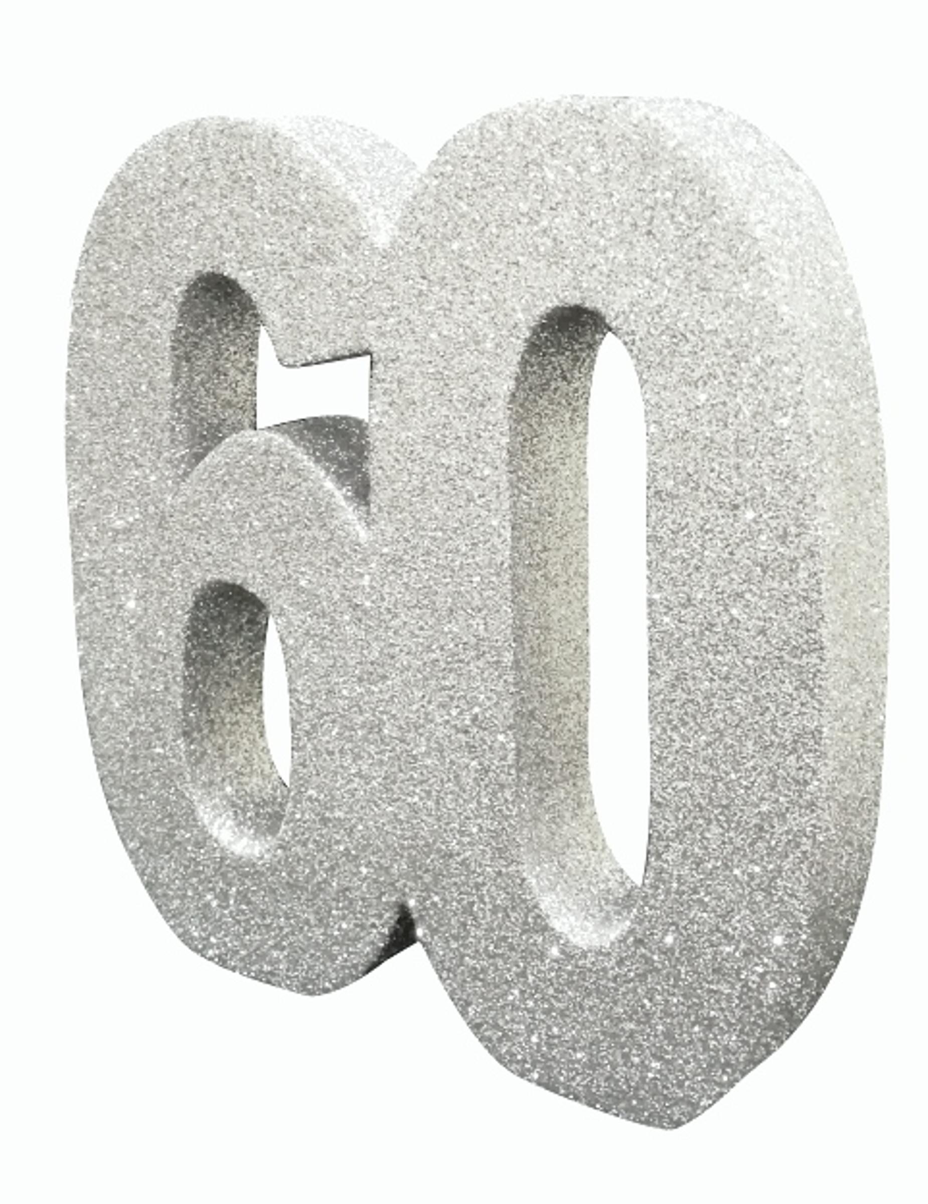 D/écoration de table 60 ans argent paillet/é 20 x 20 cm