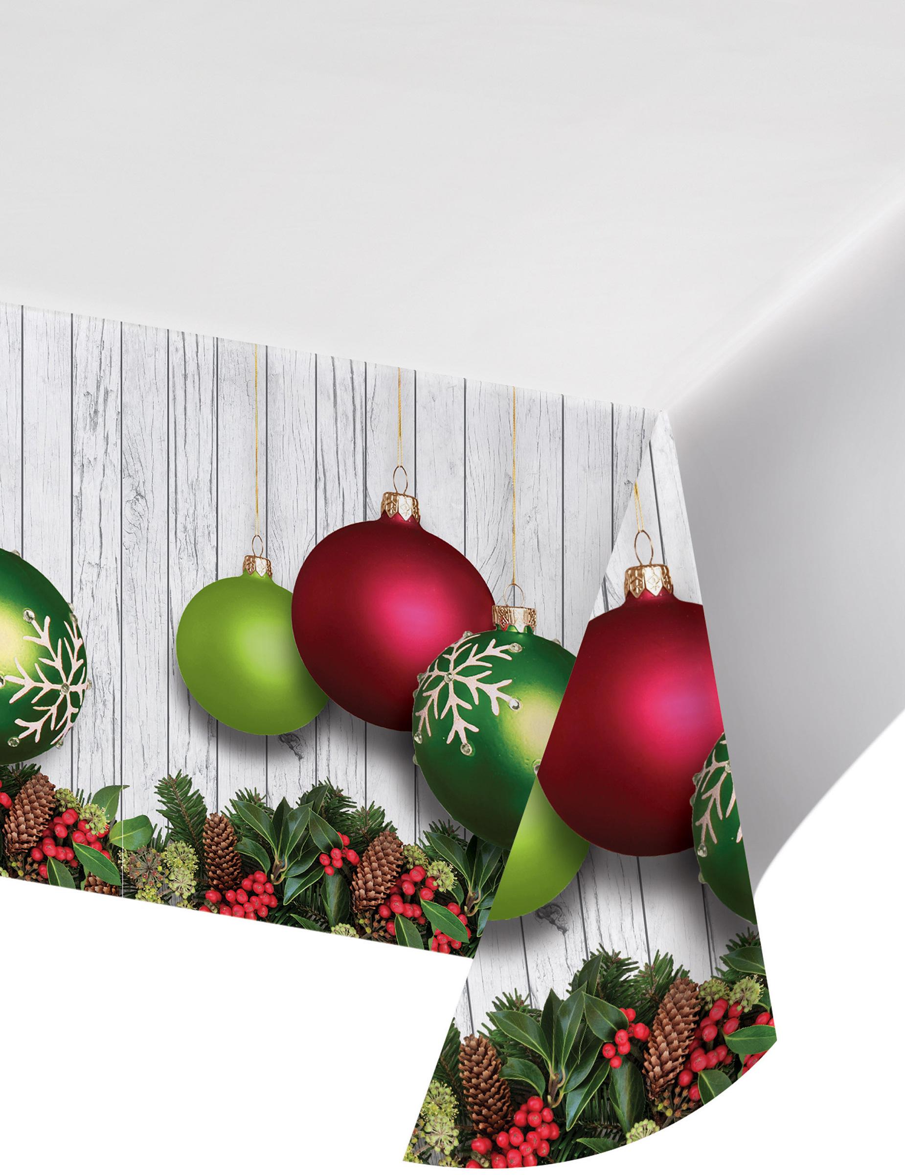 nappe en plastique boules de no l verte et rouge 137 x 274 cm d coration anniversaire et f tes. Black Bedroom Furniture Sets. Home Design Ideas