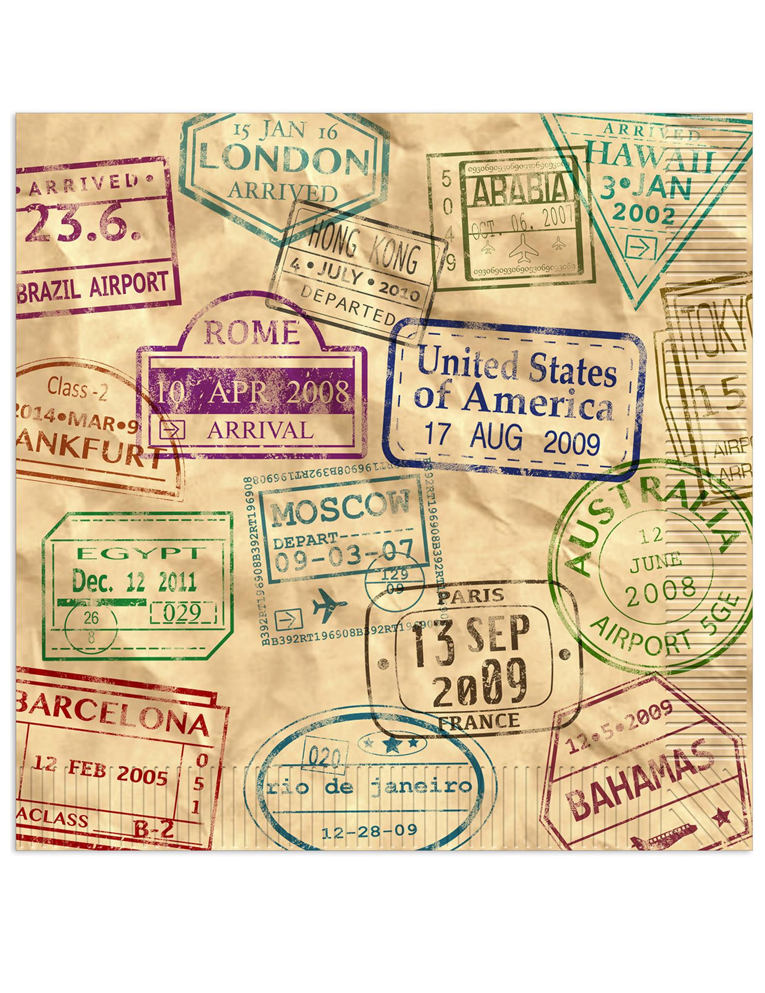16 serviettes en papier tour du monde 33 x 33 cm, décoration