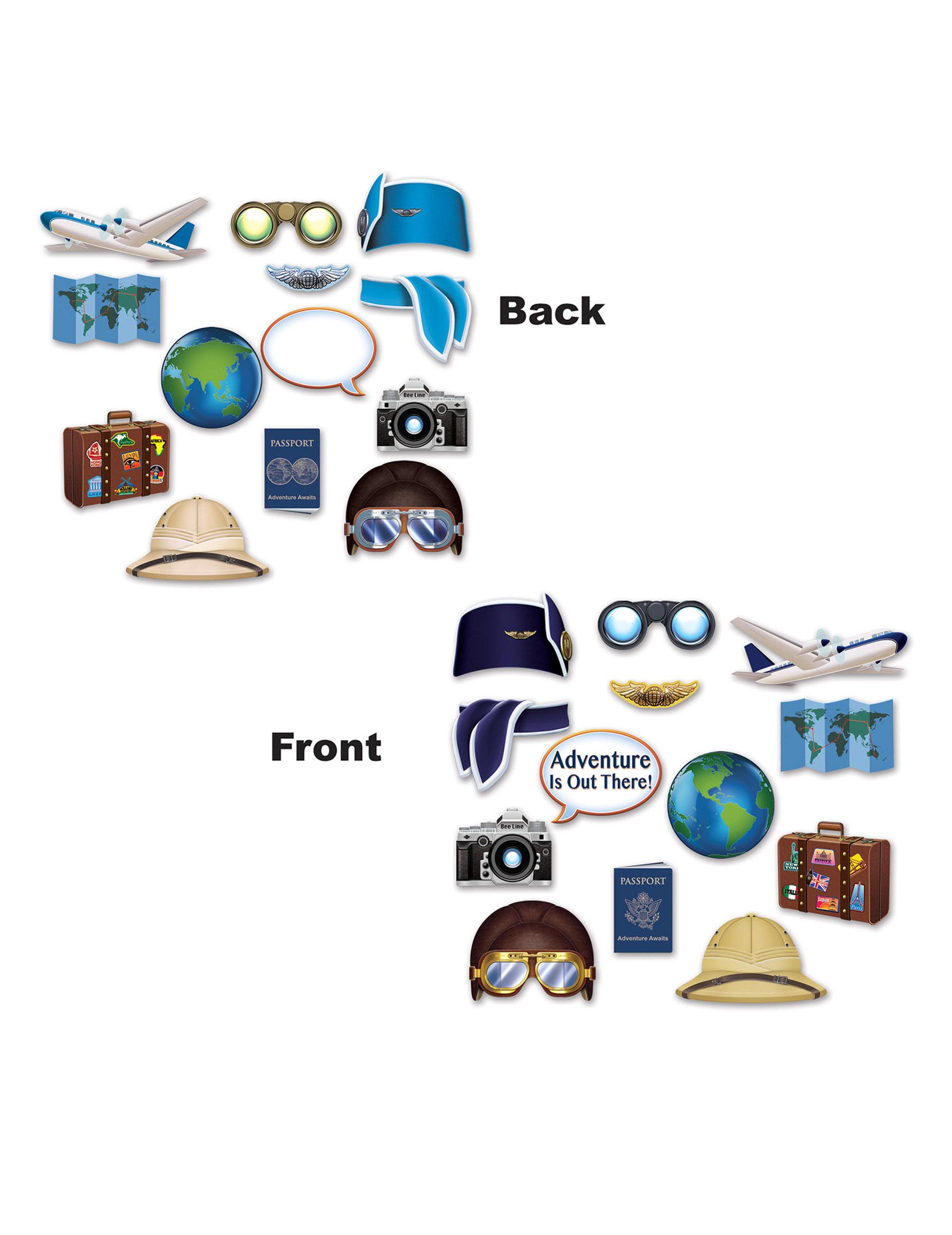 kit photobooth tour du monde 13 accessoires, décoration anniversaire