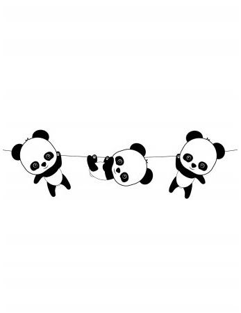 Guirlande En Papier Bébé Panda 350 M