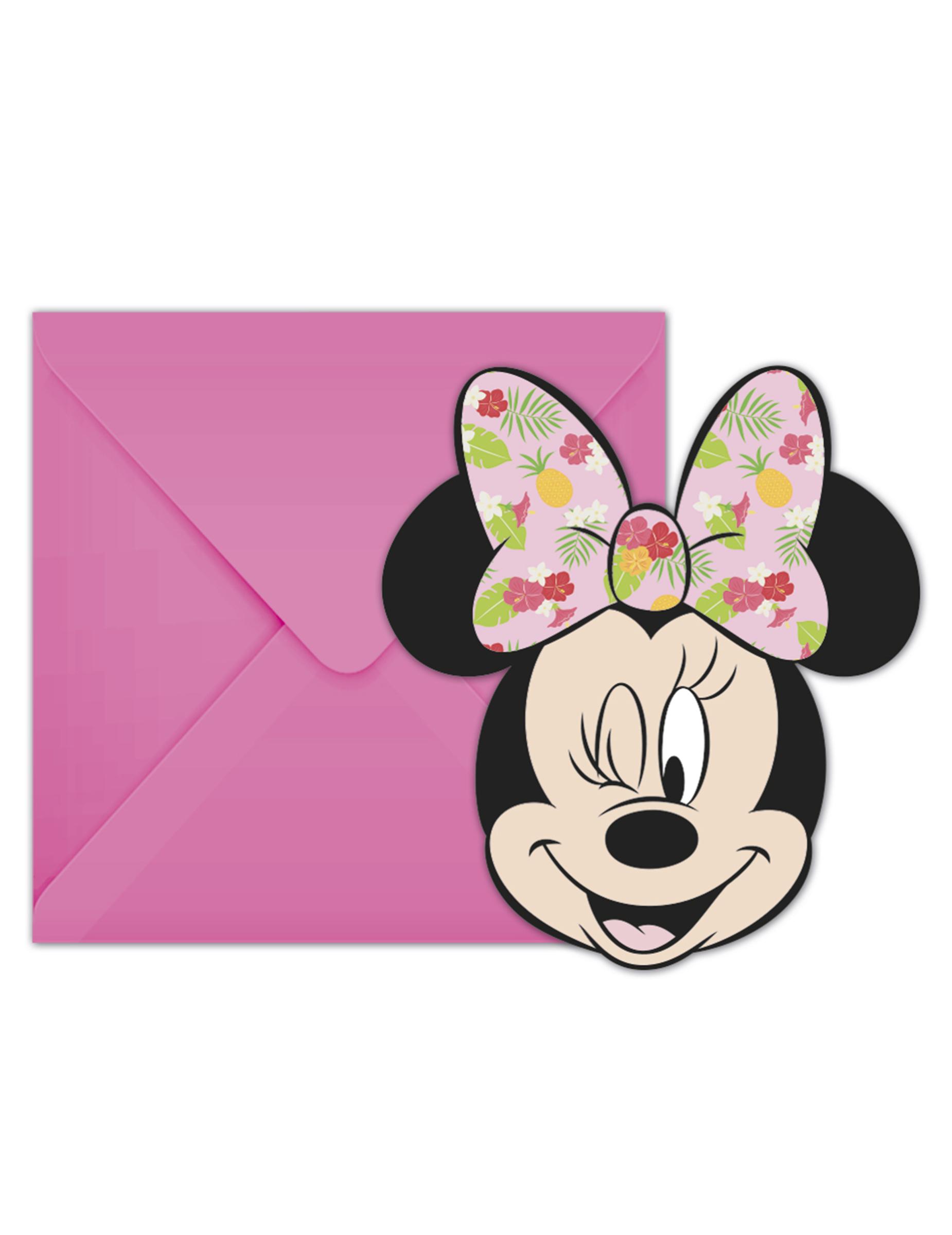 6 Cartons D Invitation Avec Enveloppes Minnie Tropical Decoration Anniversaire Et Fetes A Theme Sur Vegaoo Party